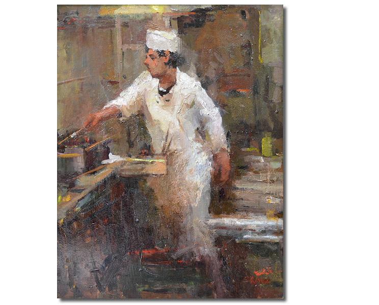 """The Cook,14 x 18 / Oil on canvas,  AVAILABLE    SCNY """"Urban Life"""" Exhibition Award Macowin Tuttle Memorial Award"""