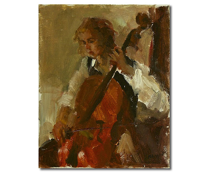 Cello Player,11 x 14 / Oil on canvas,  SOLD