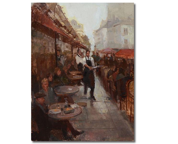 Waiter Paris Cafe , 24 x 18 / Oil on canvas ,  Sold