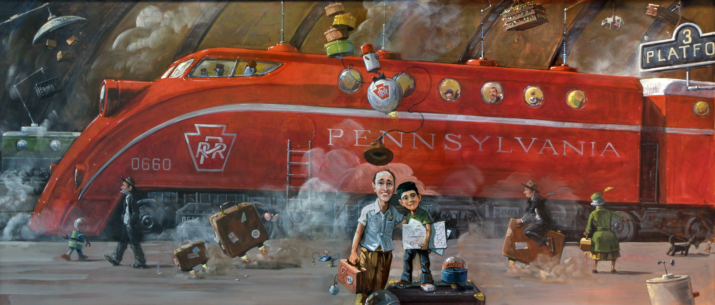 Robot Train   • This painting was commissioned by a robot engineer. His boy loves trains. Hey, why not combine these two passions? Passengers on the train include Howard Hughes and characters from my first two picture books.