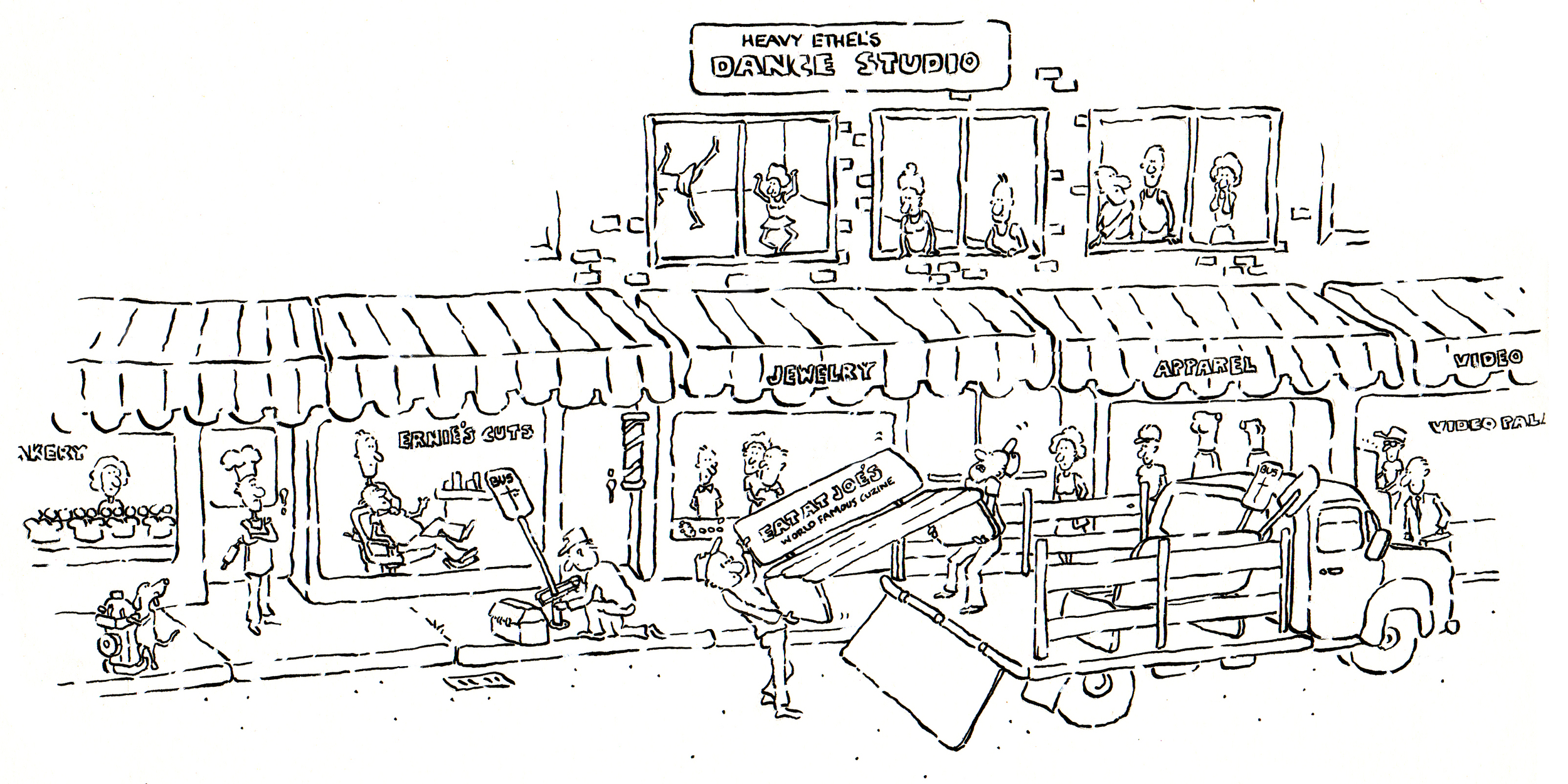 My first published art — a cartoon for a public transit brochure in the early 80's.