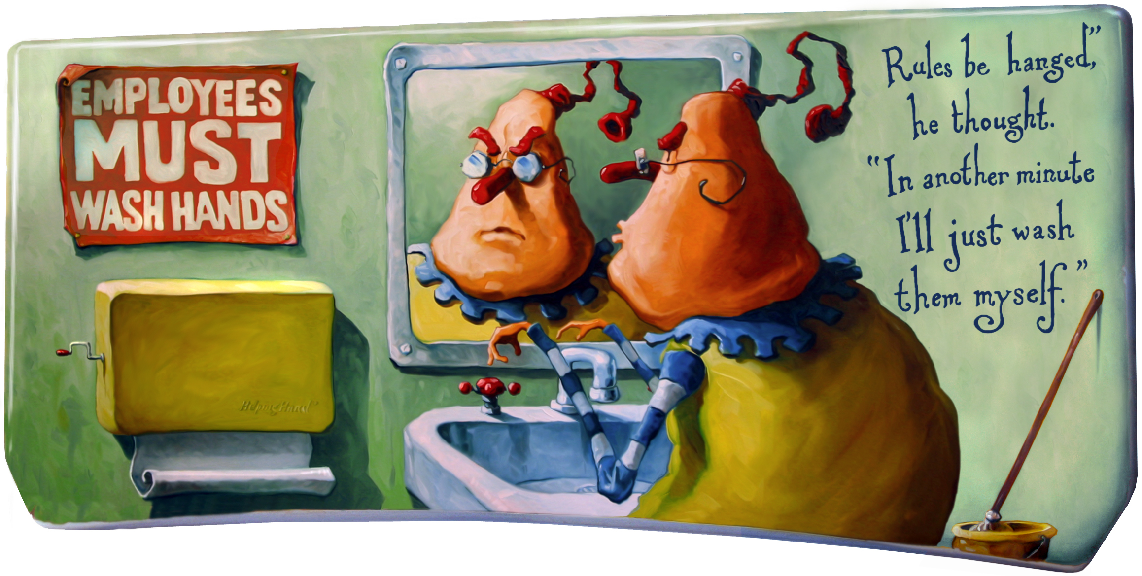 Painting on a toilet basin lid, 1998.