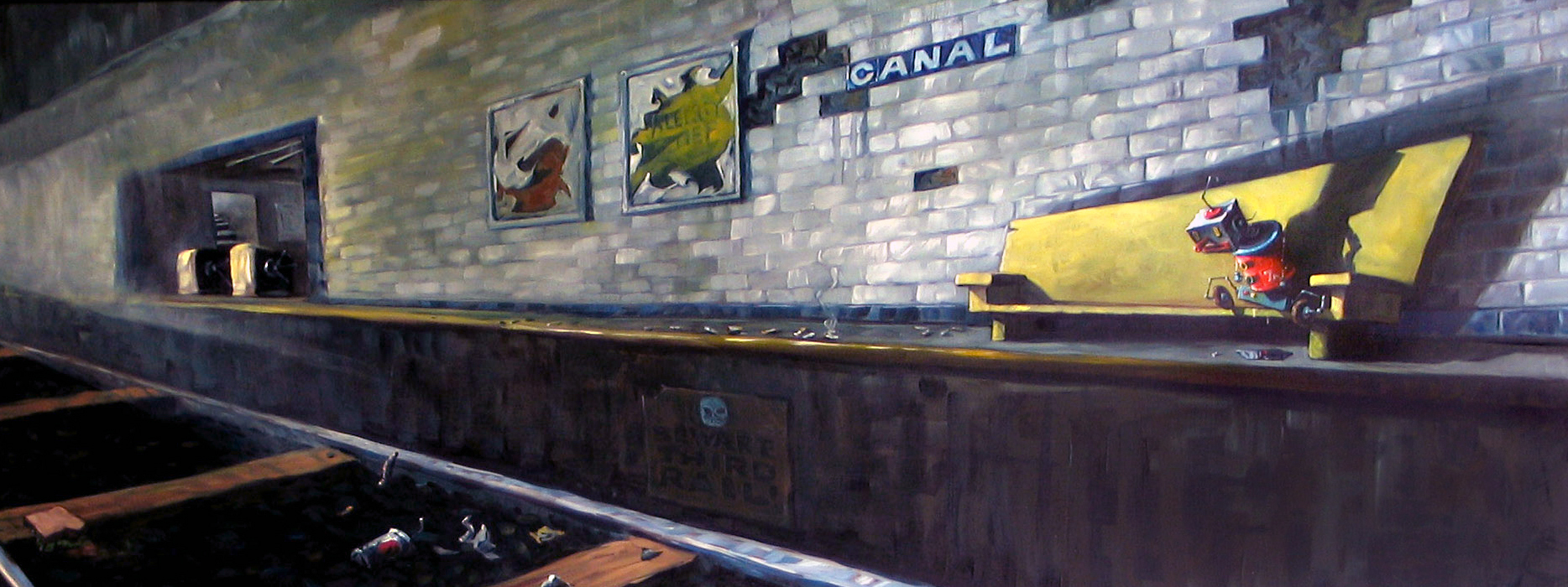 I was commissioned to paint  Subway Blues  for a client who loves robots.