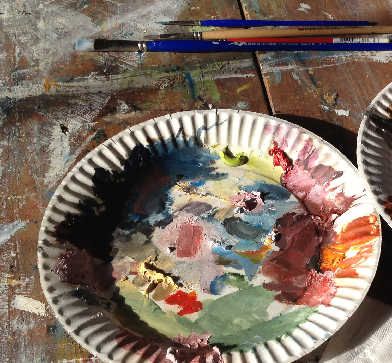 I generally work with three sizes of brushes, and use a paper plate for a palette.