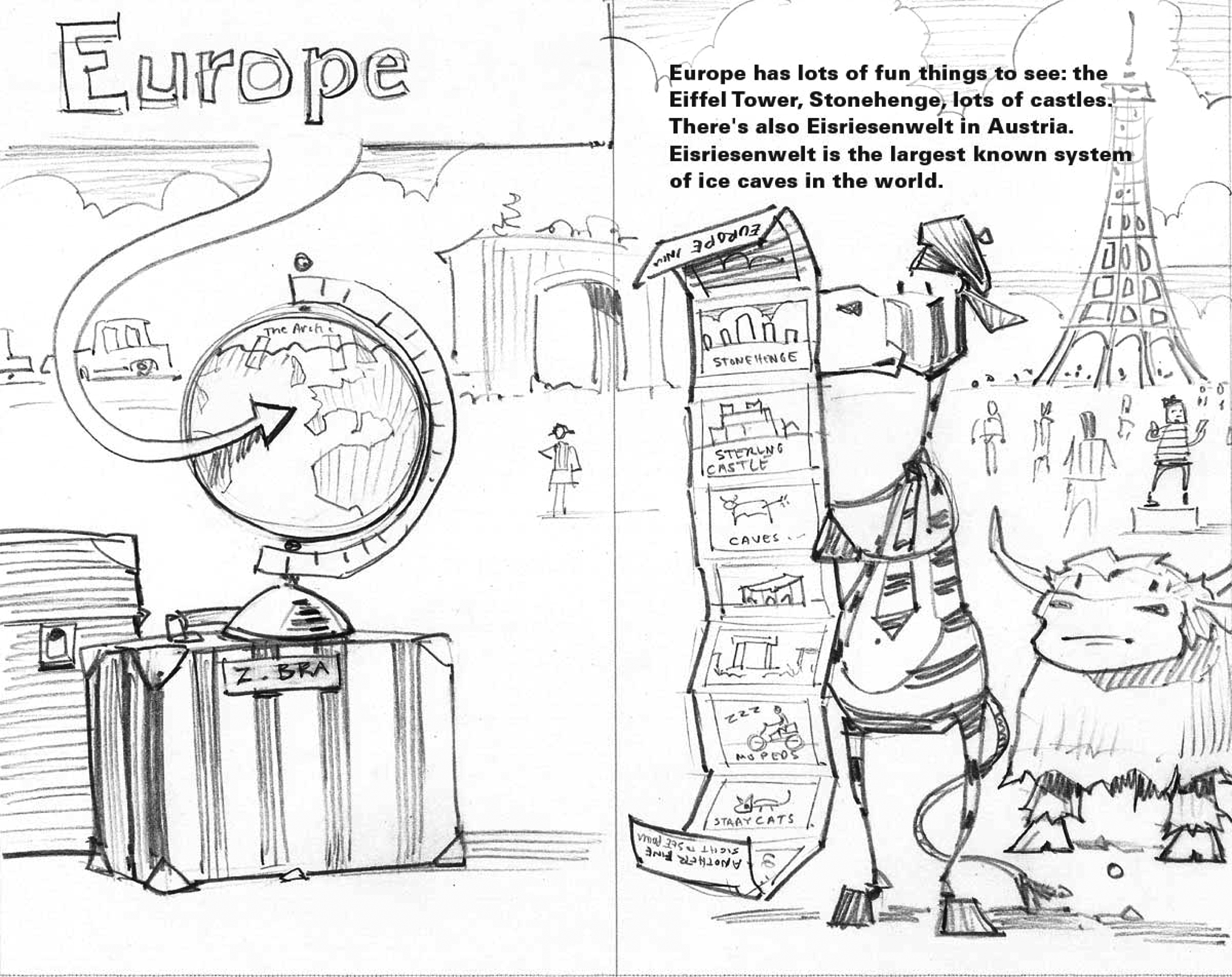Final sketch for   Europe  , from   The World According to Musk Ox  , a spoof on a geography book.