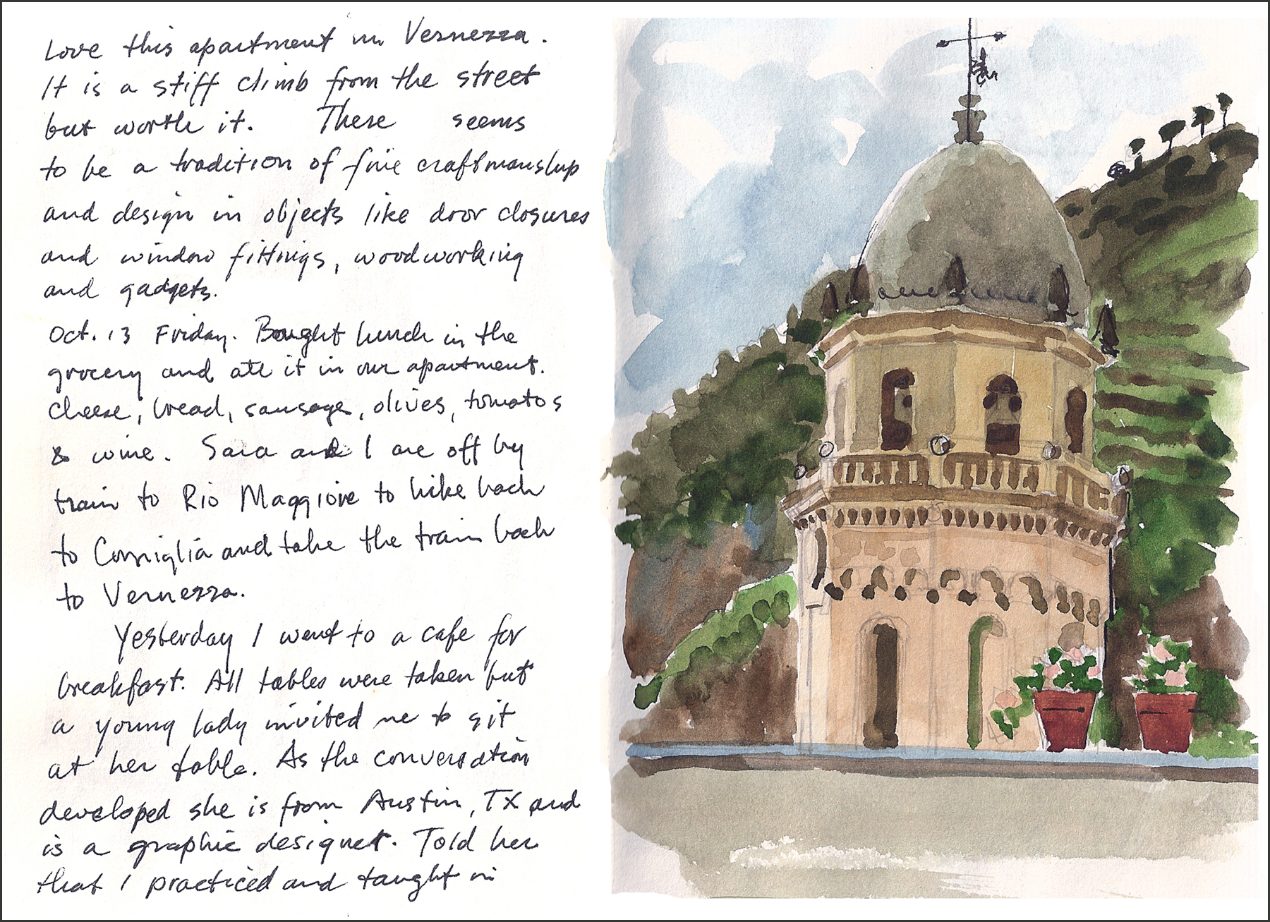 A page from my dad's sketchbook, same European trip.