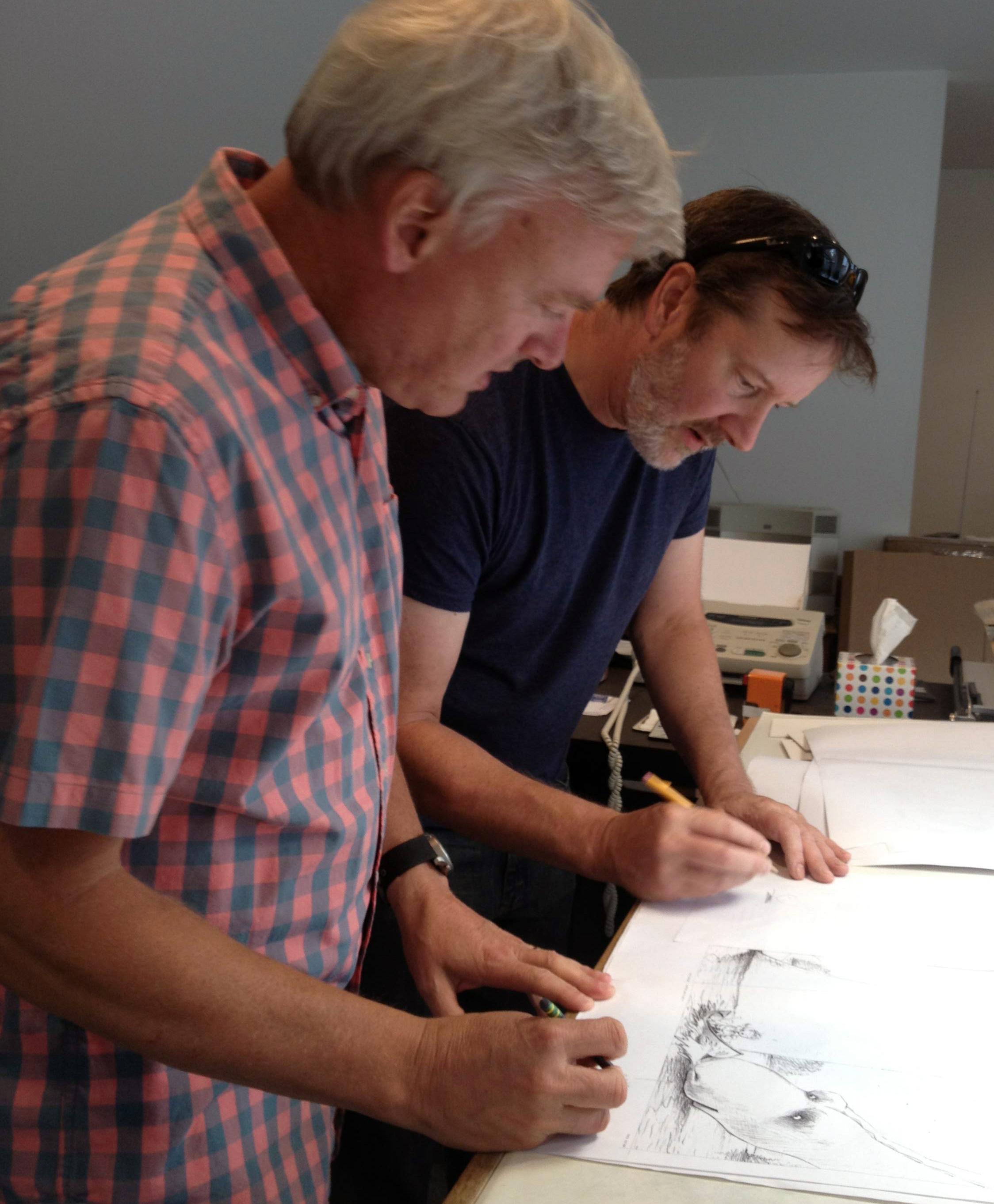 Visiting the author/illustrator Chris Van Dusen at his studio in Maine, 2014.