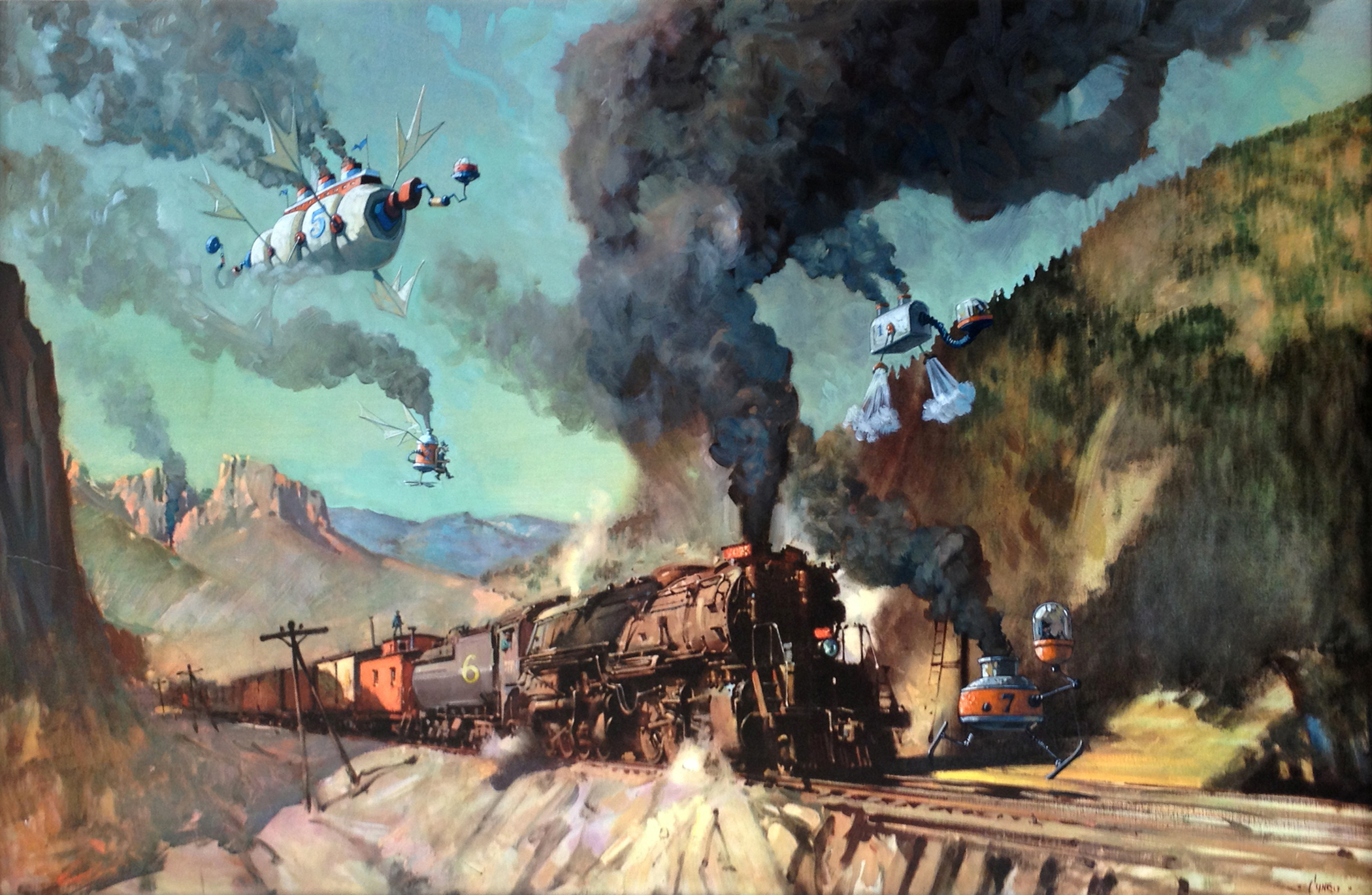 """The Great Age of Steam   34"""" wide. Includes 41""""-wide frame. Oil on a paper art print, mounted to wood, 2013.  $800 .  Buy this painting."""
