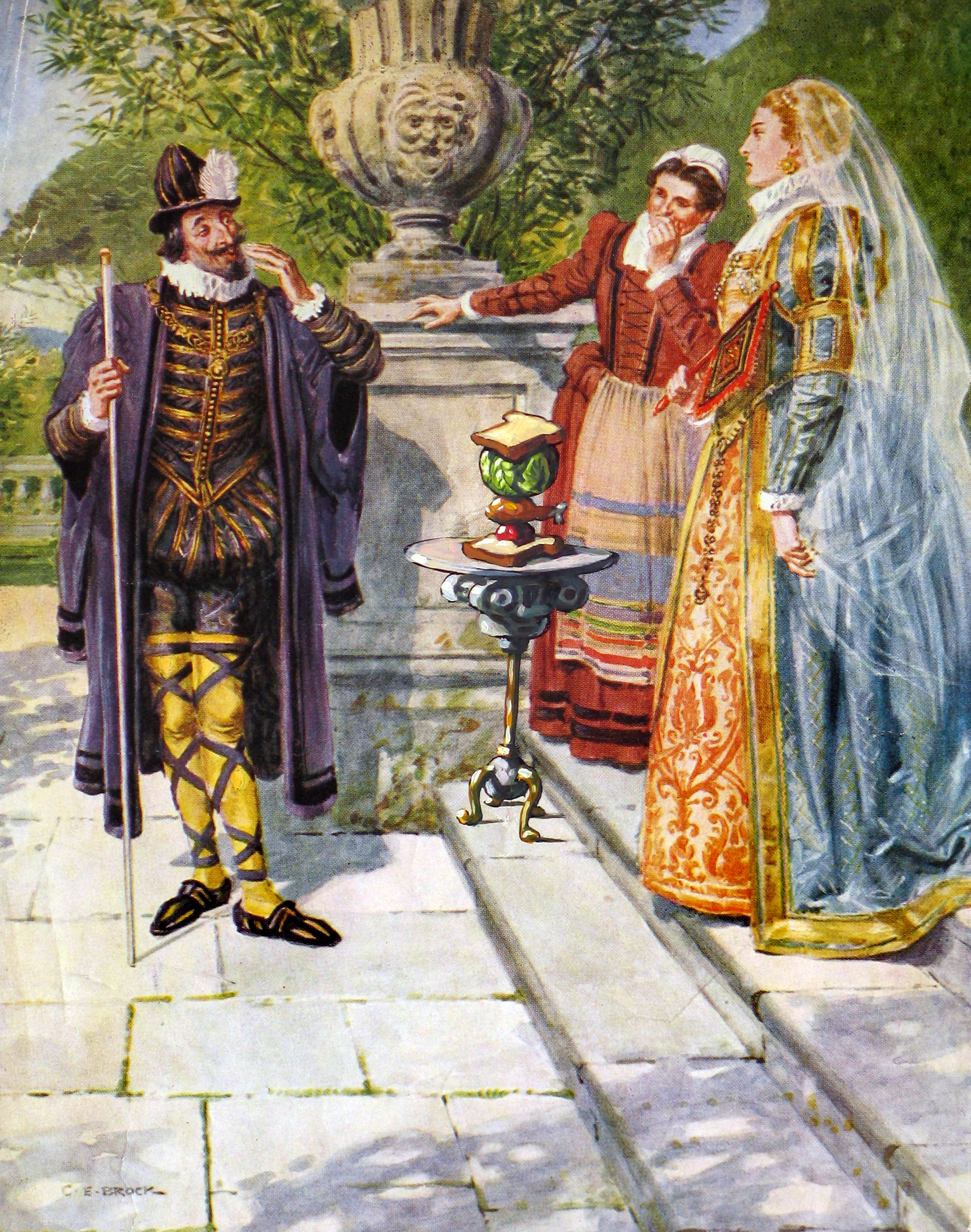 """The Earl of Sandwich Presents his Prototype   6"""" wide. Includes 10""""-wide frame. Oil on a paper art print, 2008.  $200.   Buy this painting."""