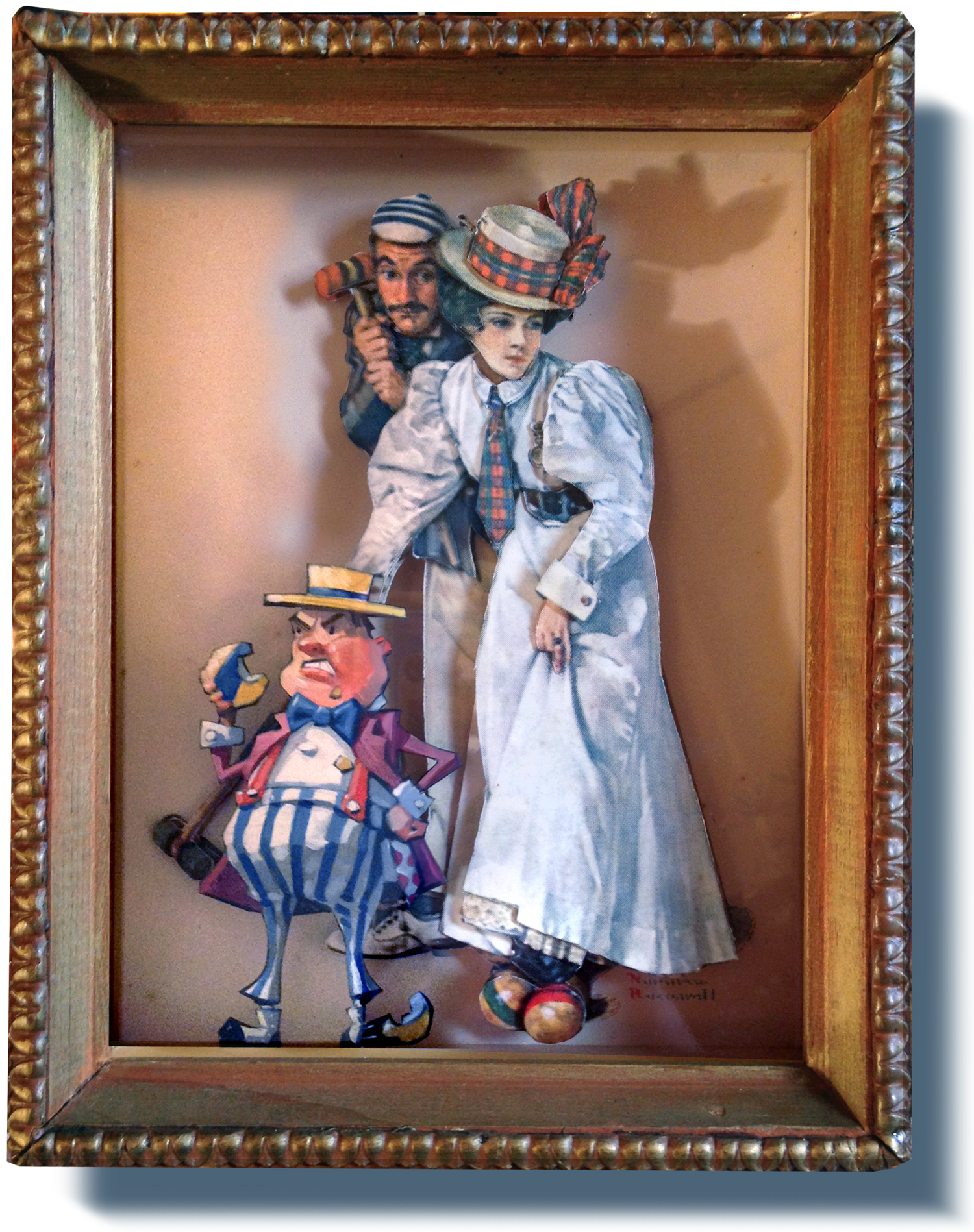 """The Croquet Imp   6"""" wide. Includes 8"""" wide shadowbox frame. Oil on cardboard, 2013.  $200  .    Buy this painting ."""