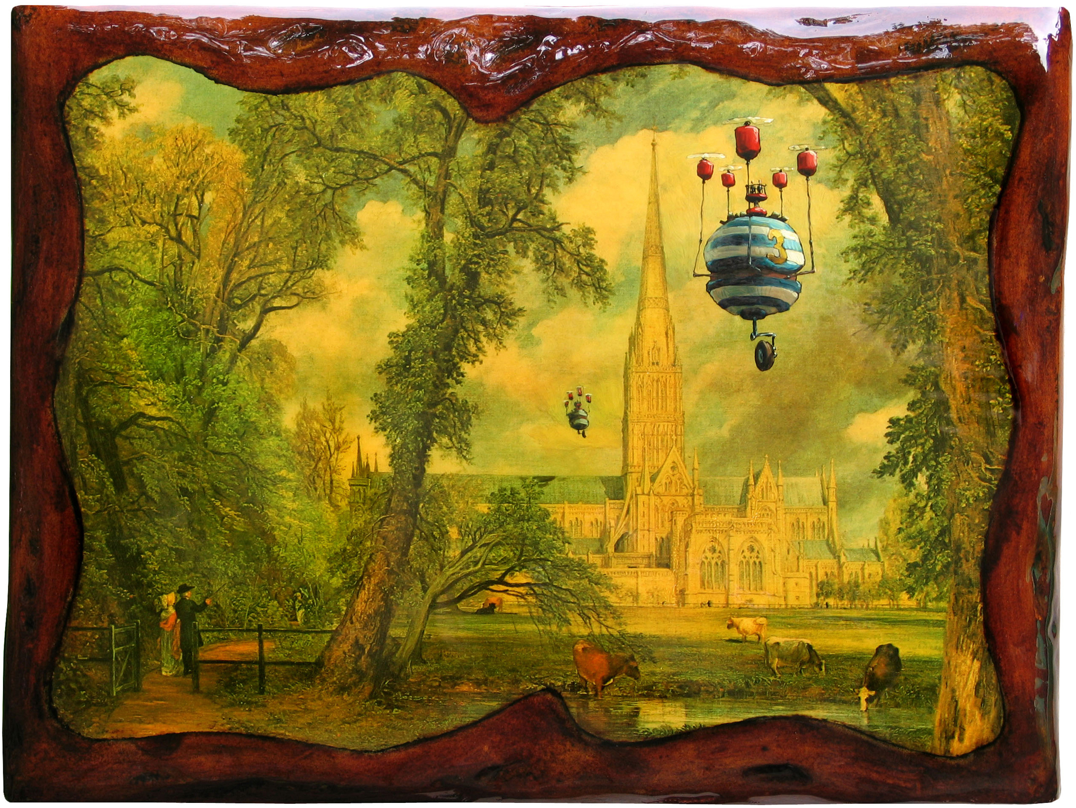 """Salisbury's Visitors   12"""" wide. Oil on a paper art print laminated to wood, 2009.  $150.  Buy this painting."""