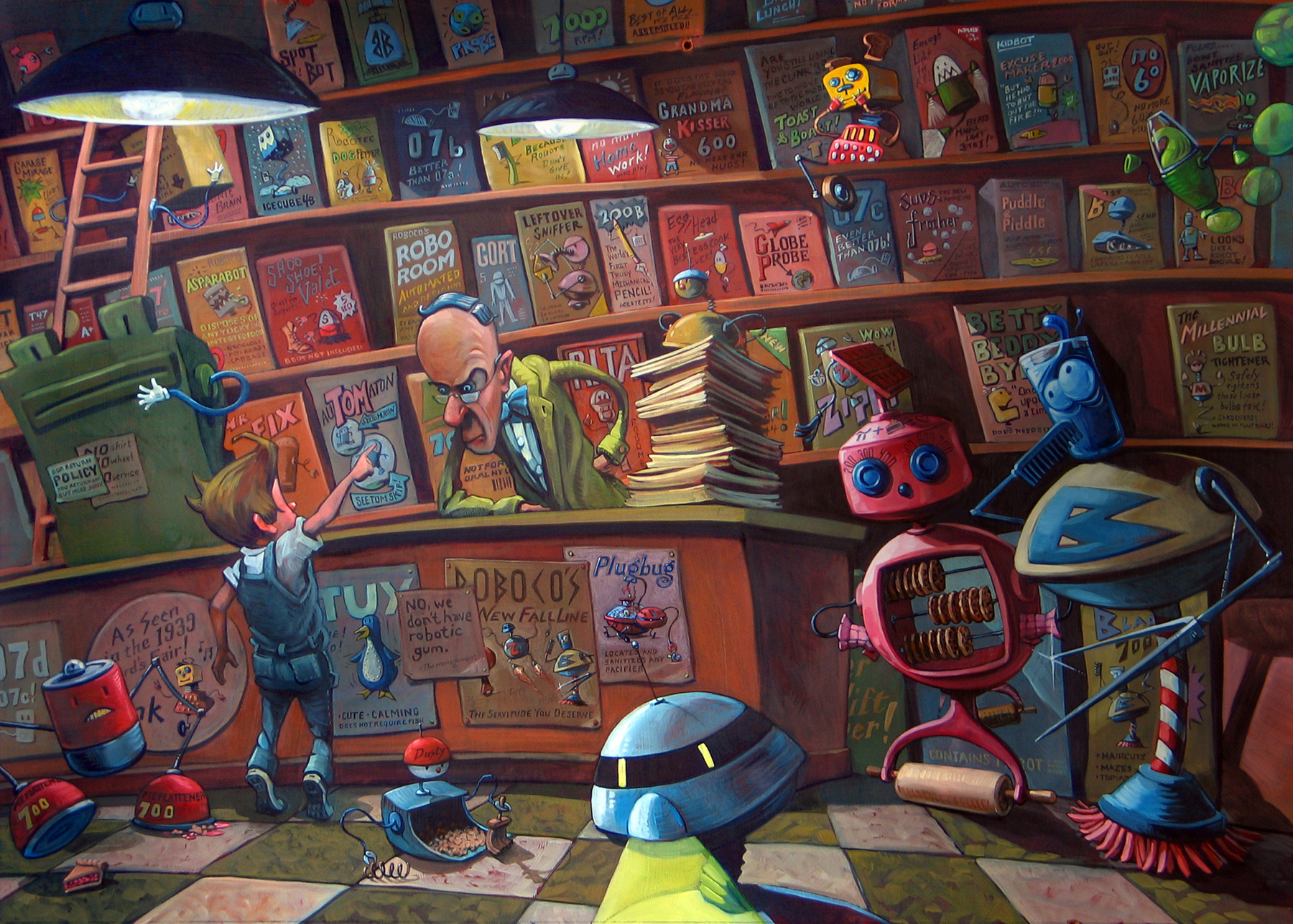 "The Robot Merchant   30"" wide. Oil on wood, 2010.  $800.     Buy this painting."