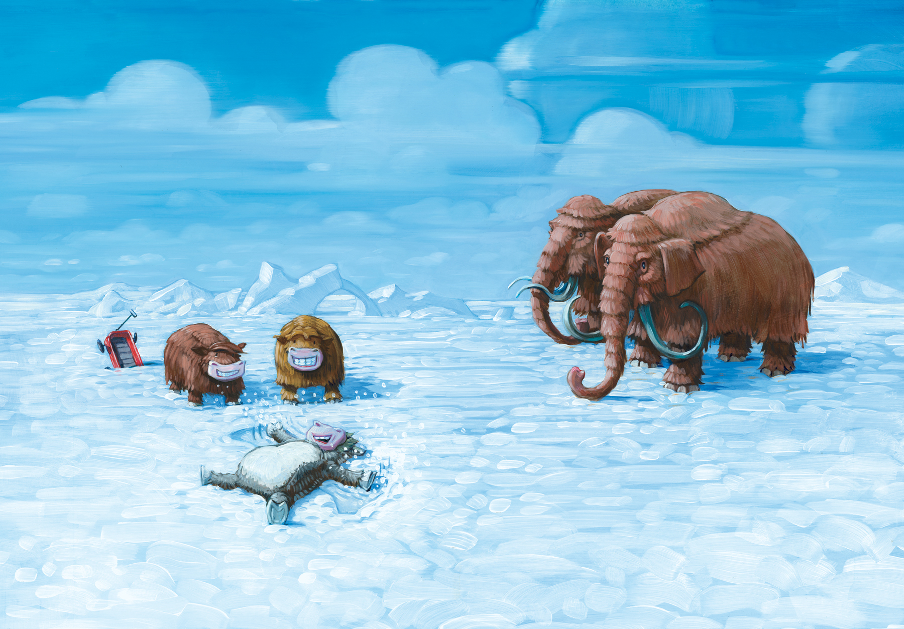 """The Age of Mammoths  28"""" wide. Oil on illustration board, 2011.  $700  .  Buy this painting."""
