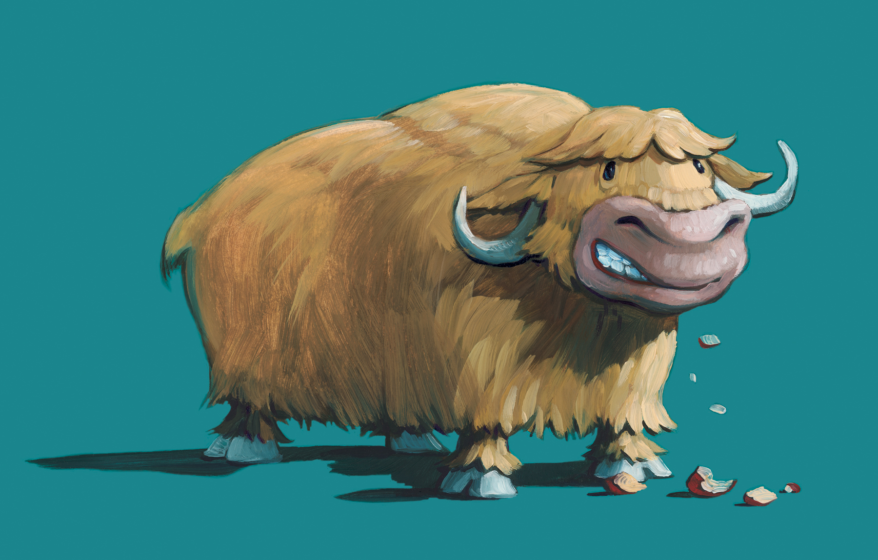"""Grinning Ox  (title page) 10"""" wide. Oil on illustration board, 2011.  $150  .  Buy this painting."""