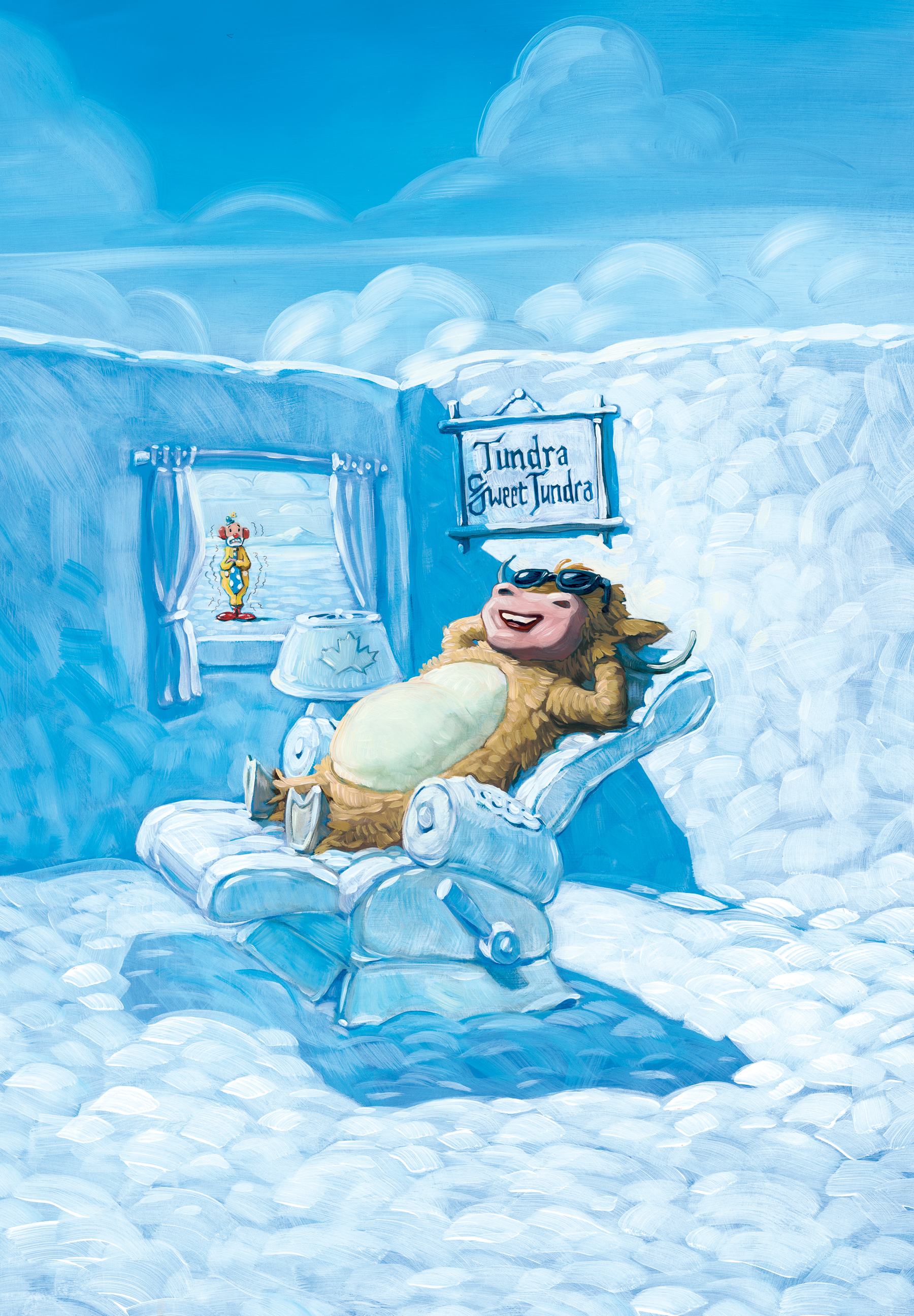 """Snow Recliner  11"""" wide. Oil on illustration board, 2011.  $250  .  Buy this painting."""