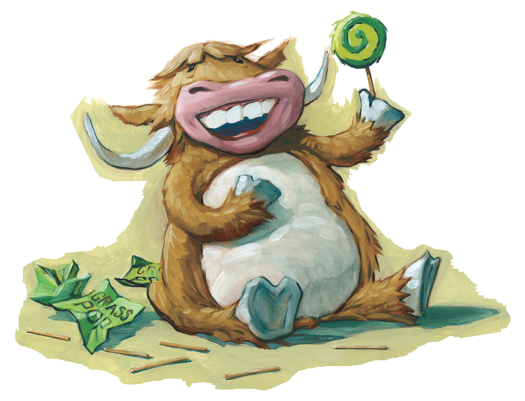 """Musk Ox Alphabet Song   6"""" wide. Oil on illustration board, 2011.  $75  .  Buy this painting."""