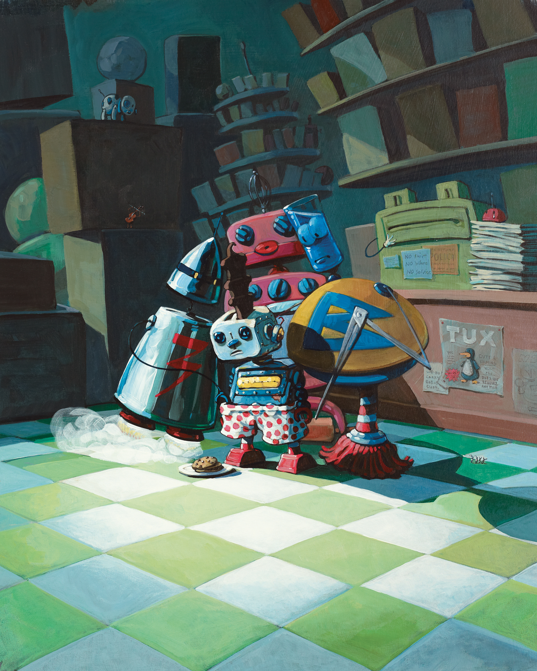 "Night in the Shop    14"" wide. Oil on illustration board, 2010.   $300.     Buy this painting."