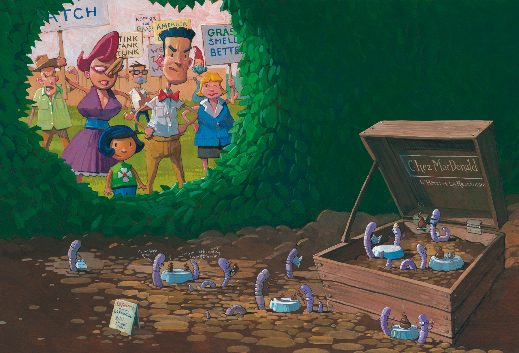 """Worm Hotel   26"""" wide. Acrylic and Oil on illustration board, 2013.  $600.    Buy this painting."""