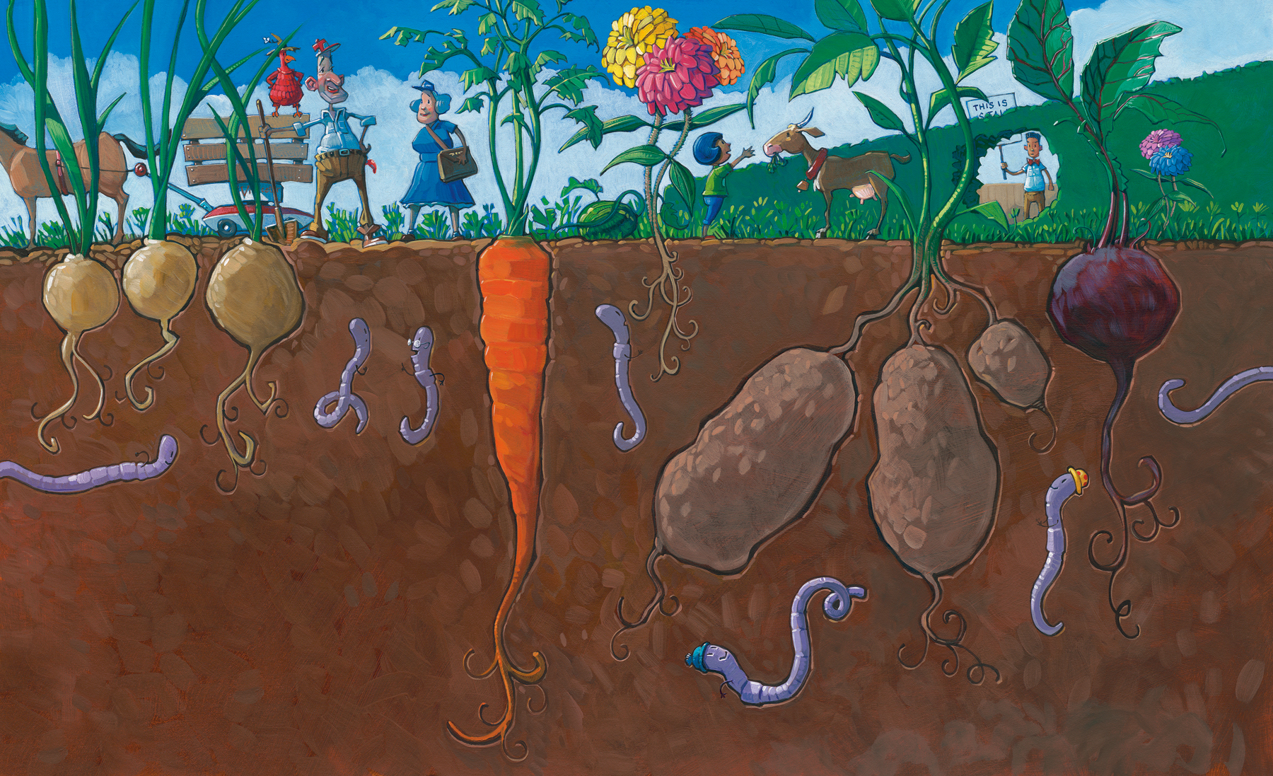 """Under the Ground  26"""" wide. Acrylic and Oil on illustration board, 2013.  $600.    Buy this painting."""