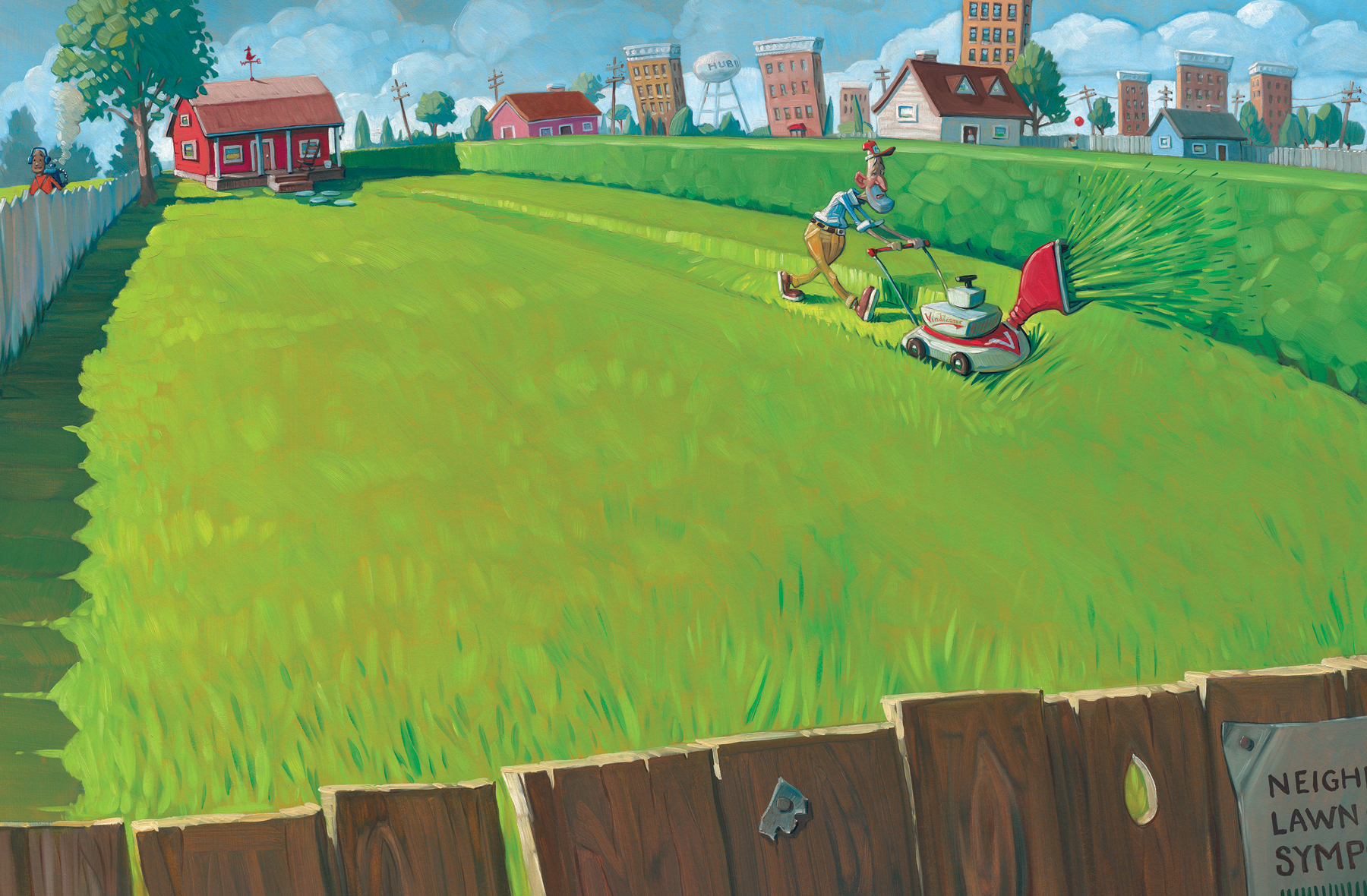 "Mowing the Lawn Again   27"" wide. Acrylic and Oil on illustration board, 2013.   $600.     Buy this painting."