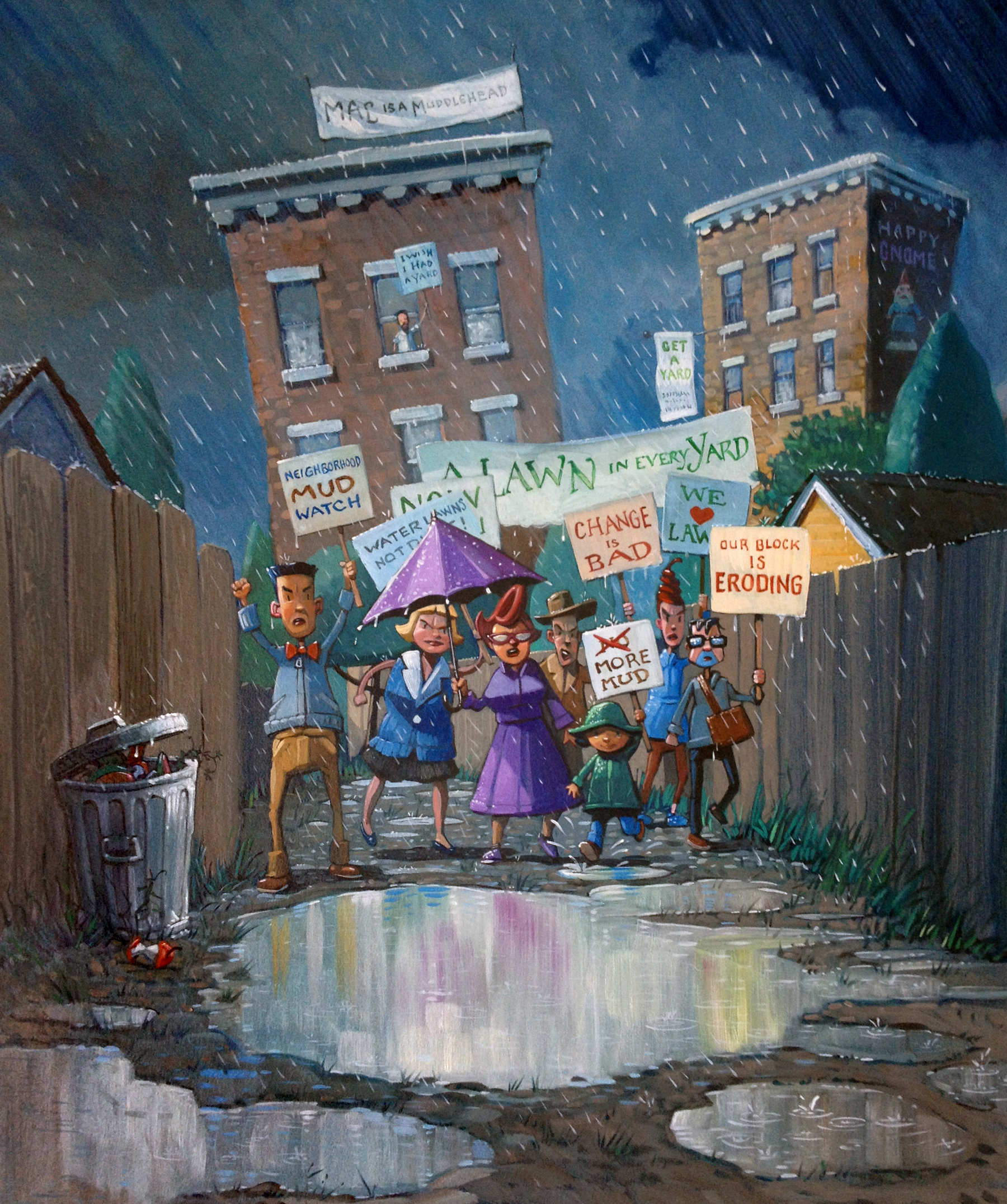 "Protest in the Alley  13"" wide. Acrylic and Oil on illustration board, 2013.   $400.     Buy this painting."