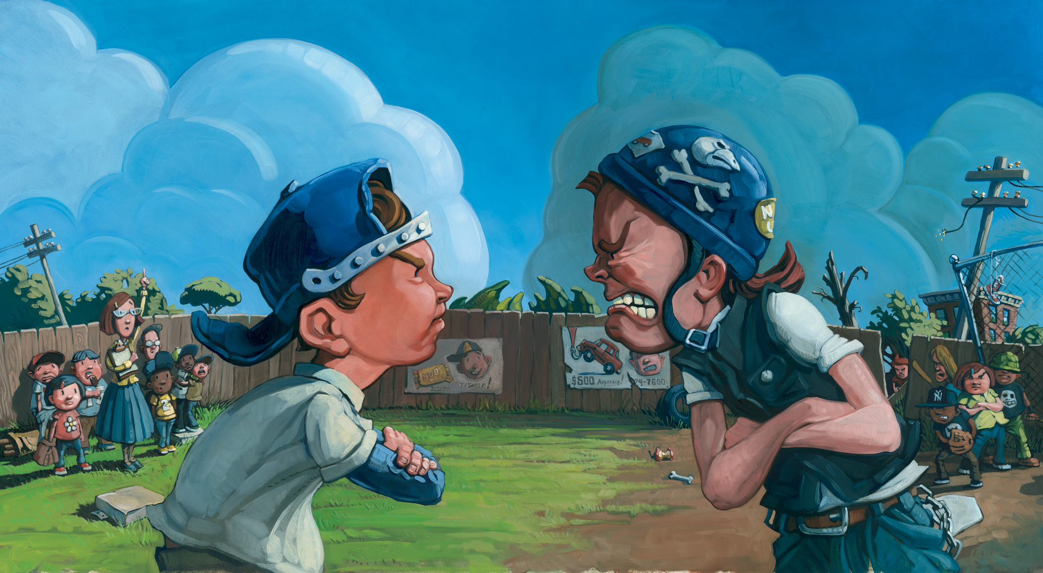 "Facing Off    25"" wide. Oil on illustration board, 2010.   $300  .   Buy this painting."