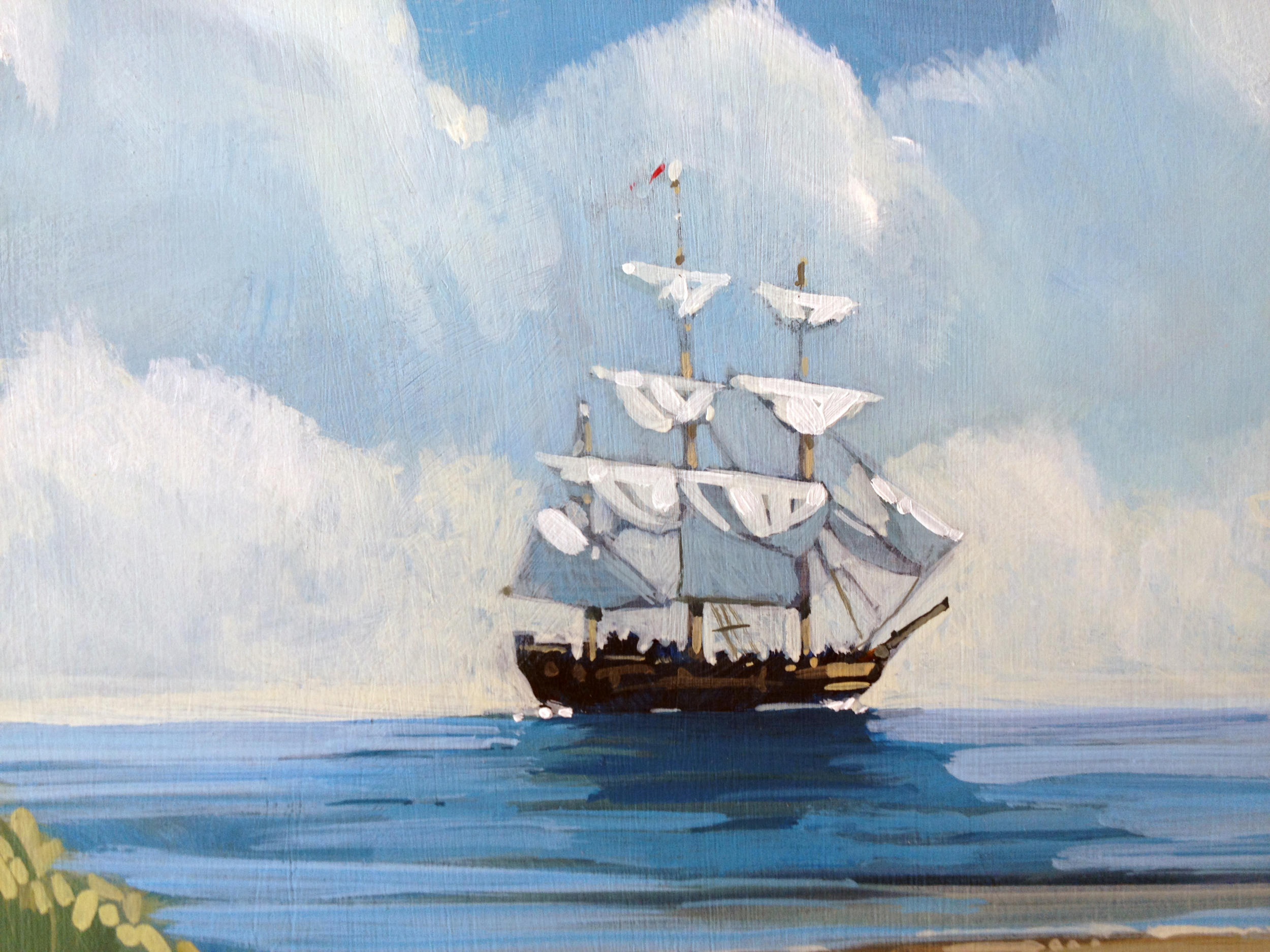 Detail from   The Castle Watch  . The ship is two inches wide on the actual painting.