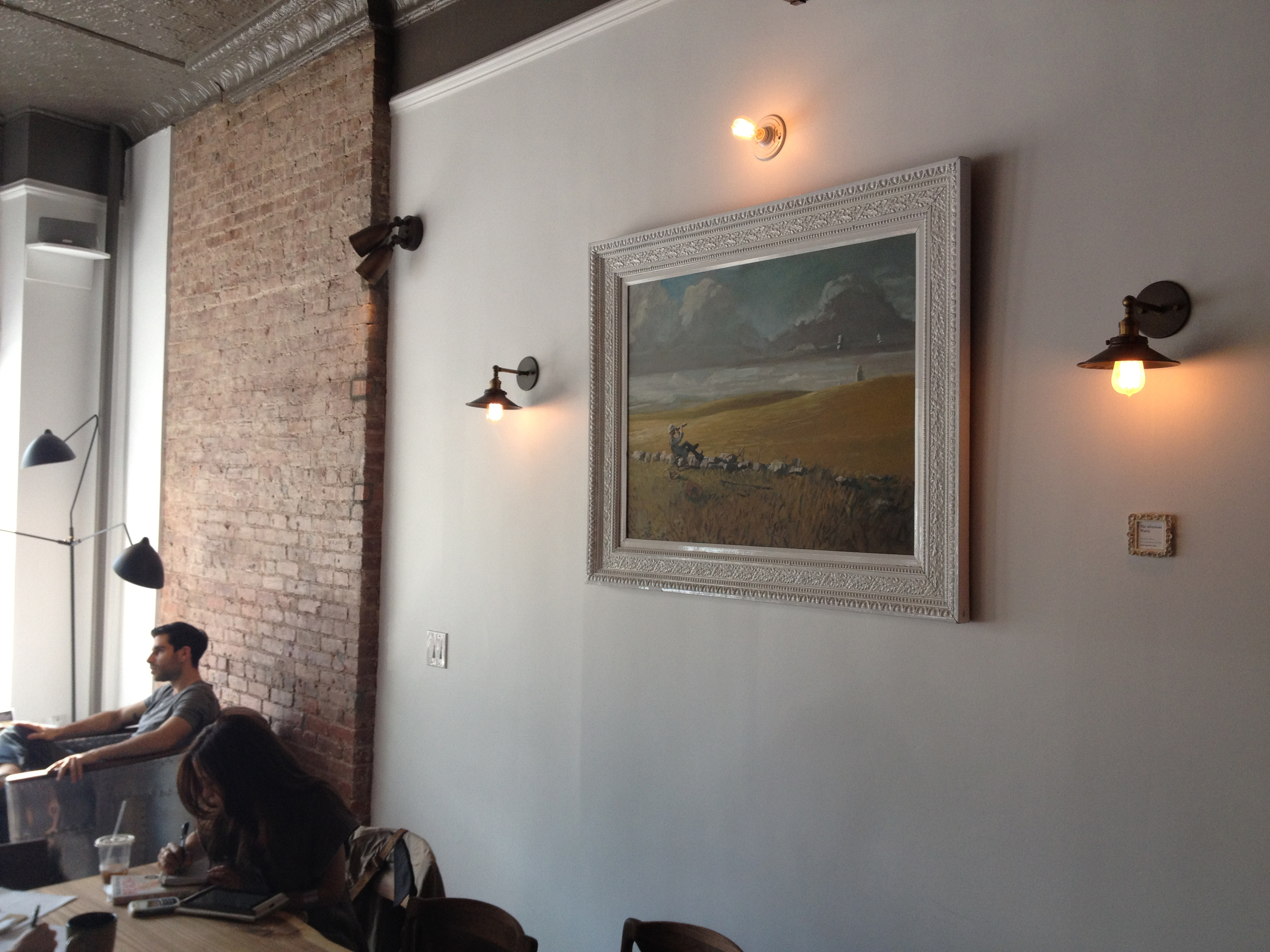 Watchman of the Lea  , as it hangs in  The Hungry Ghost Cafe  in Brooklyn, NY. I have painted five paintings in the Sentinel series for the  Hungry Ghost .