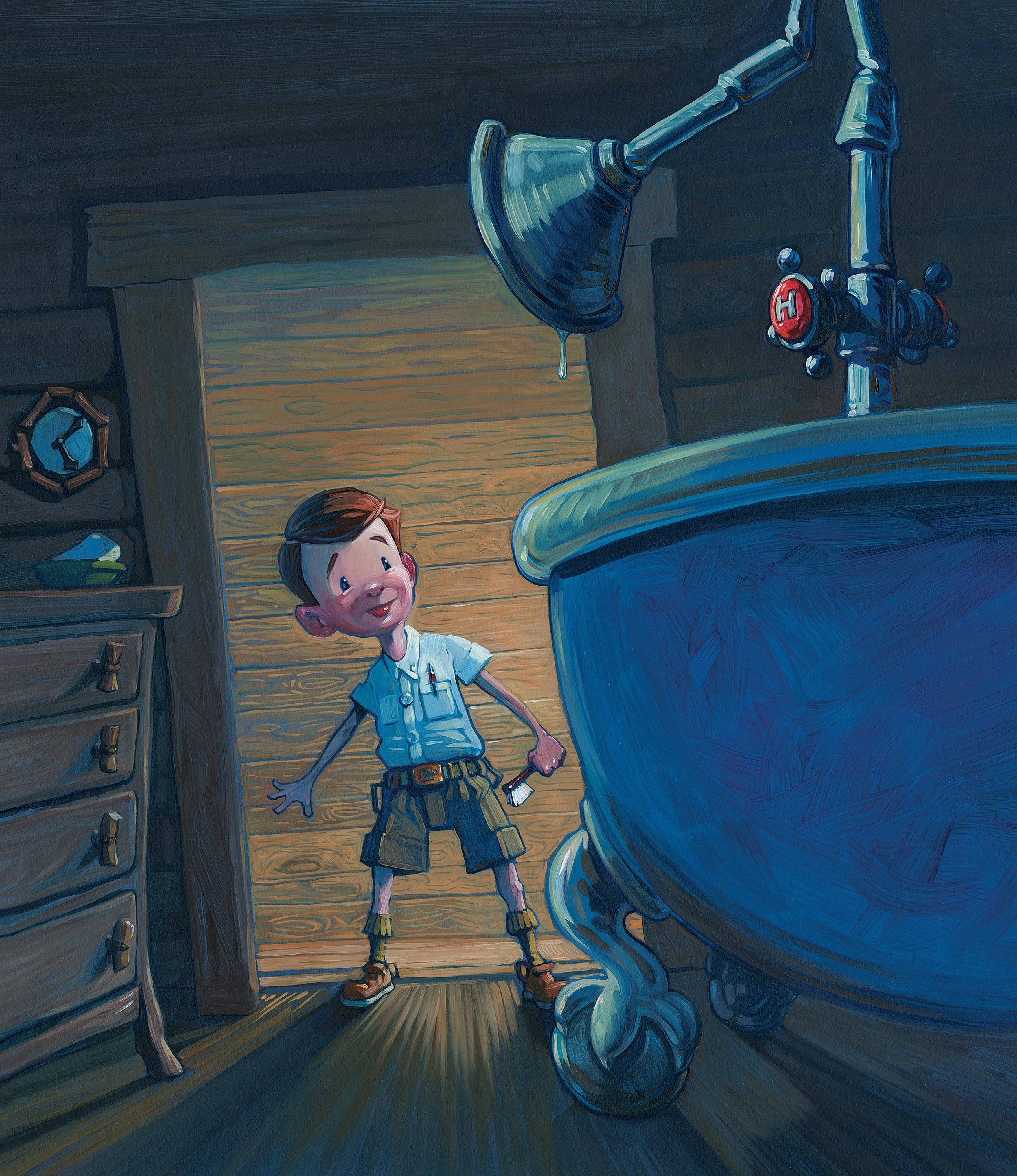 The Tub   • Oil on illustration board