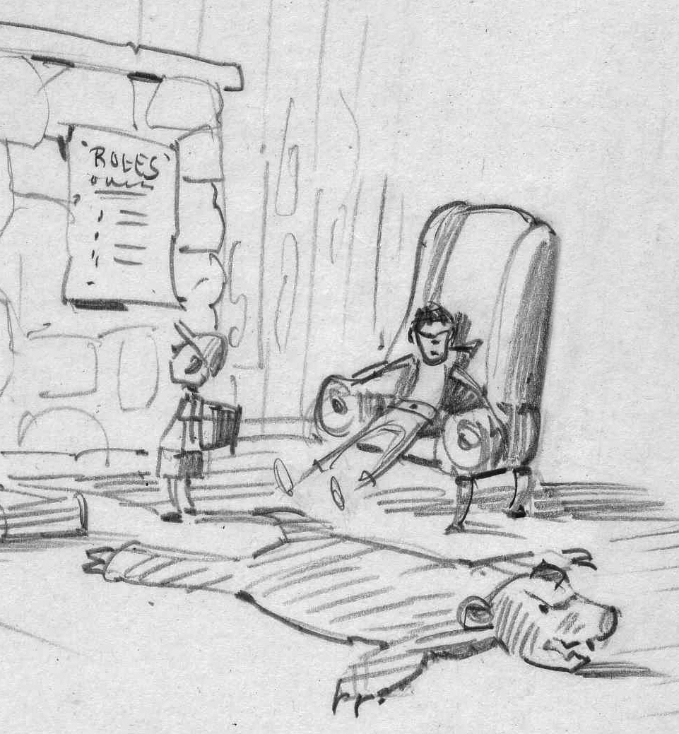 A very early sketch of Ian, Jenny, and the Bear Rug. I was still figuring out where the actual sign with the Rules of the House should go. I got rid of the fireplace, since one of the characters is a wood stove.