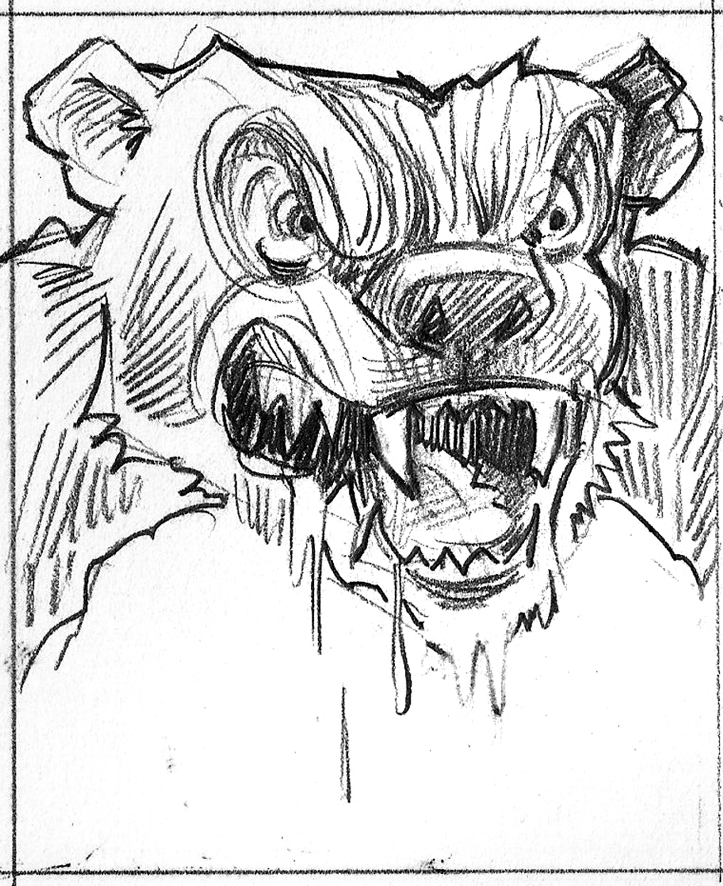 The bear got a bit too rabid in a few of my sketches. Spooky is fun. Terrifying? Not so much. Making kids cry is not a good marketing strategy.