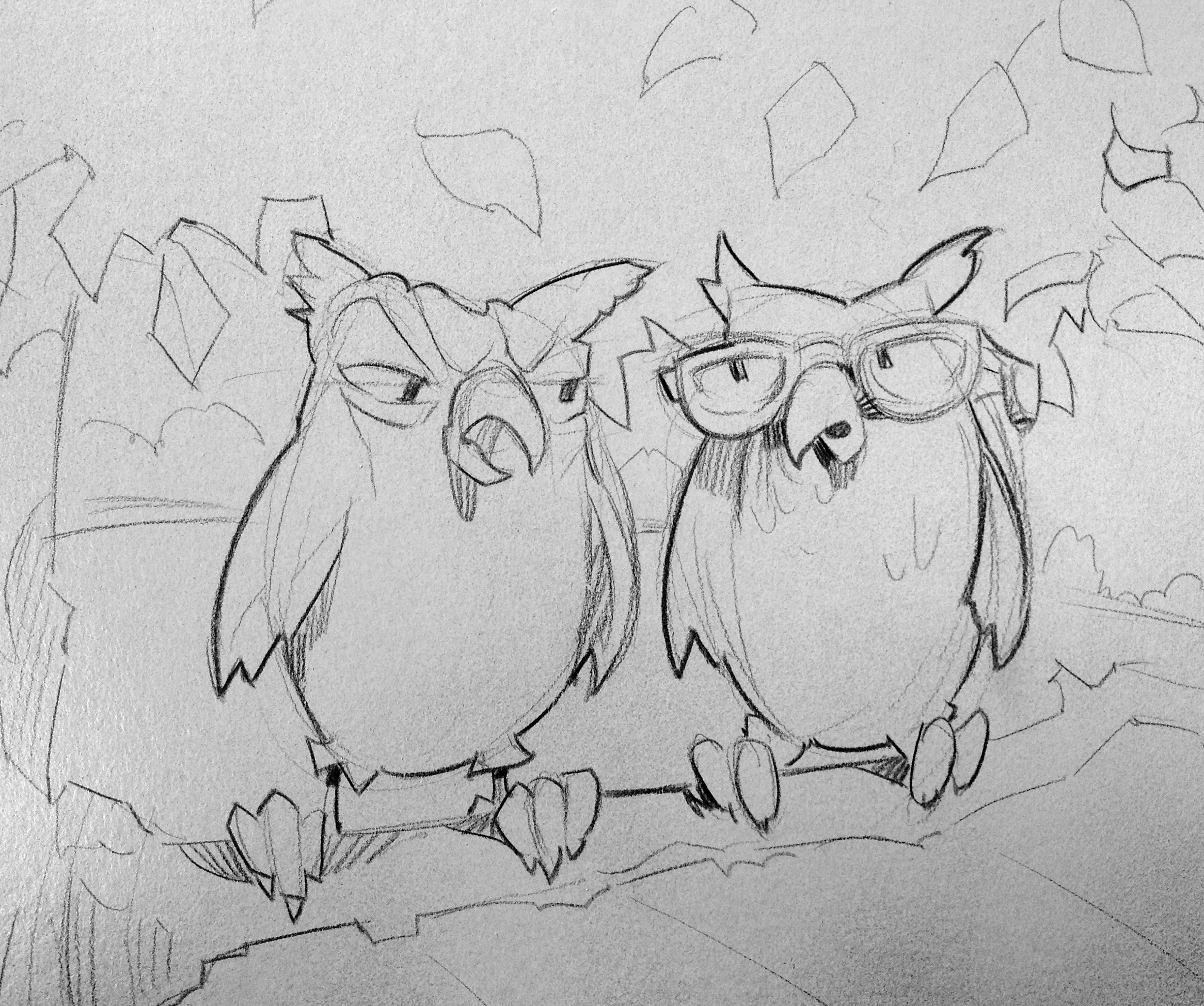 The owls were getting fed up with the sun not coming up, since their bedtime is dawn. This drawing was done directly on the illustration board, and is now covered in paint.