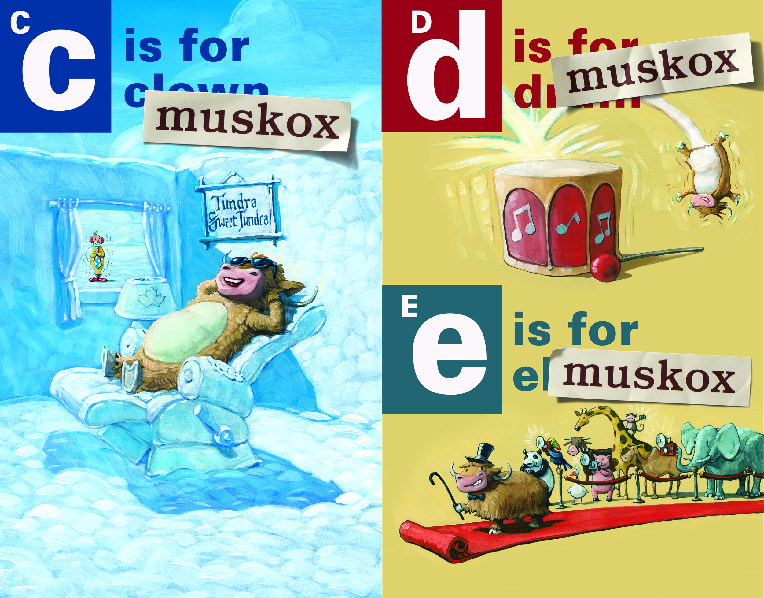 A two-page spread from   A is for Musk Ox  , showing how the alphabet book has been overrun by the musk ox.
