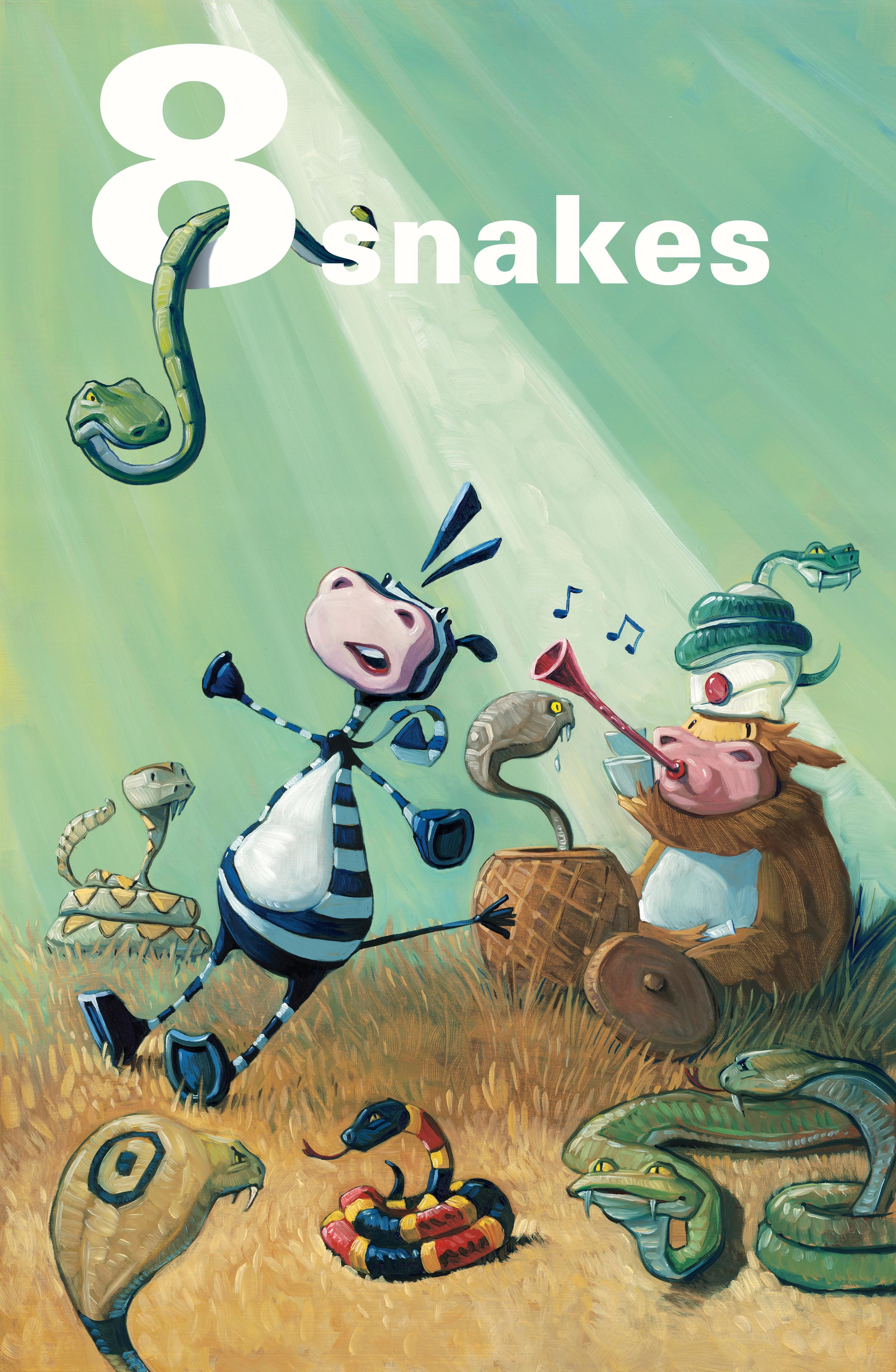 8 Snakes!   • Oil on illustration board. I added the headline digitally.