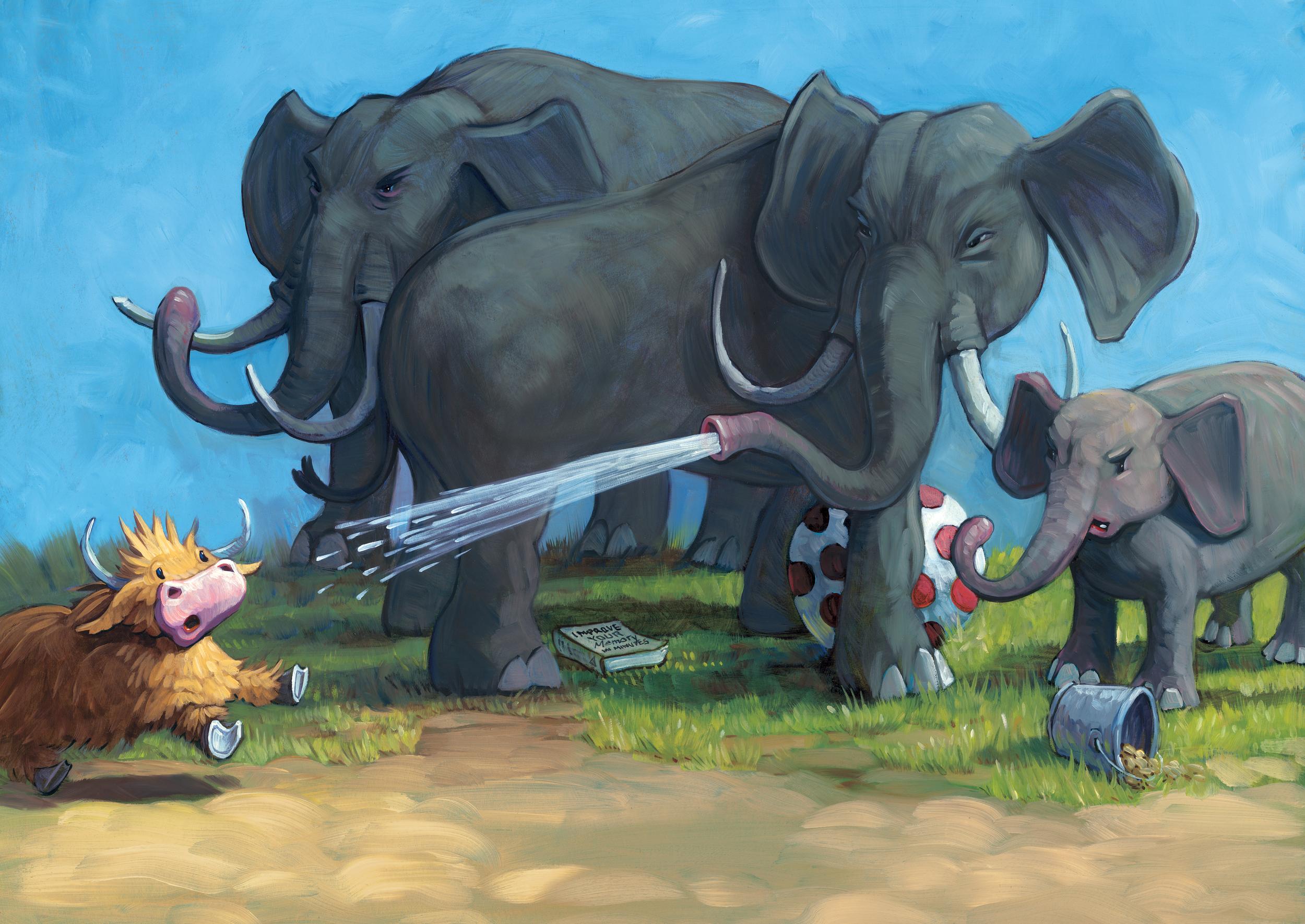 3 Elephants   • Oil on illustration board
