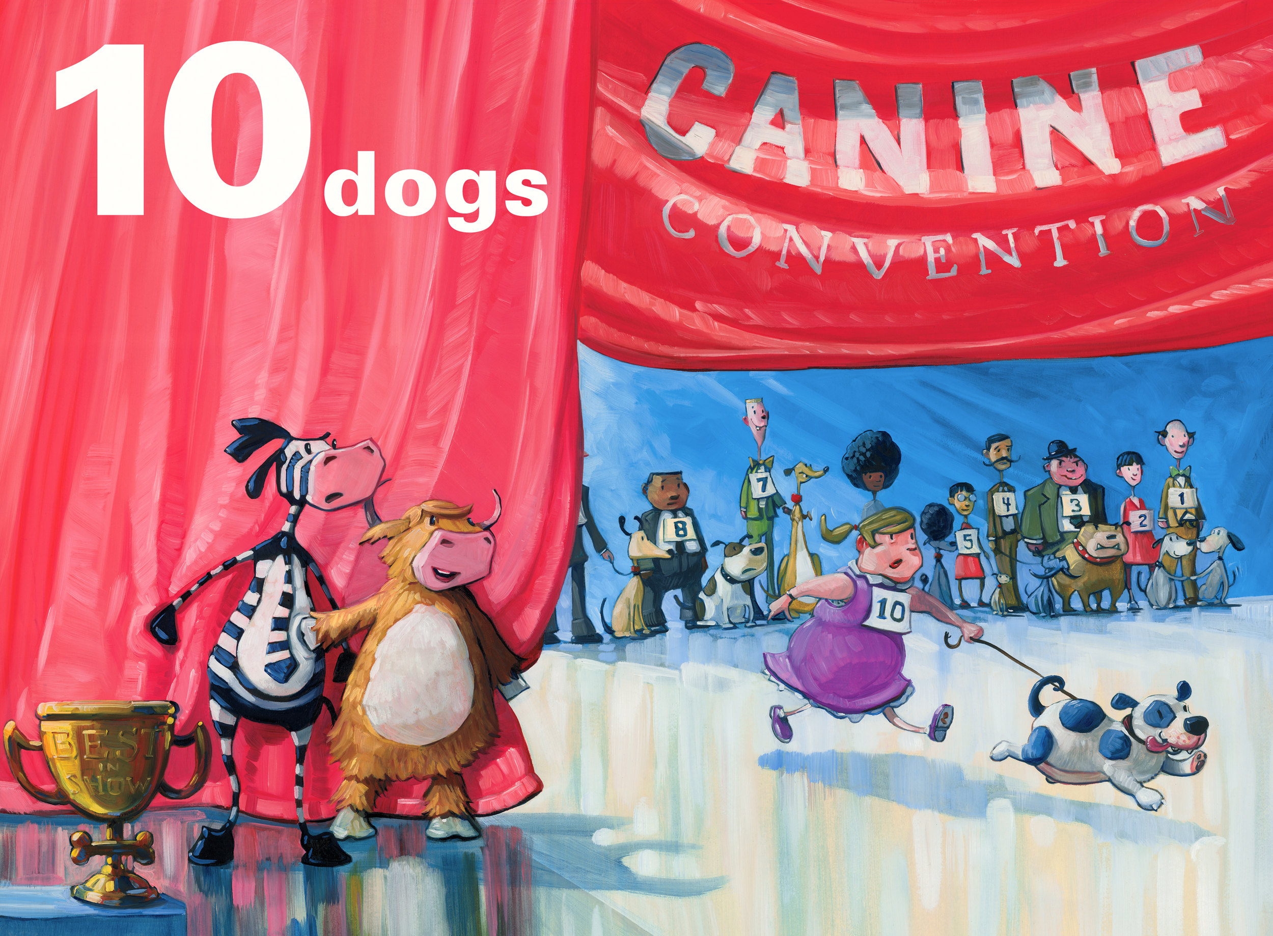 10 Dogs   • Oil on illustration board. Title was added digitally.