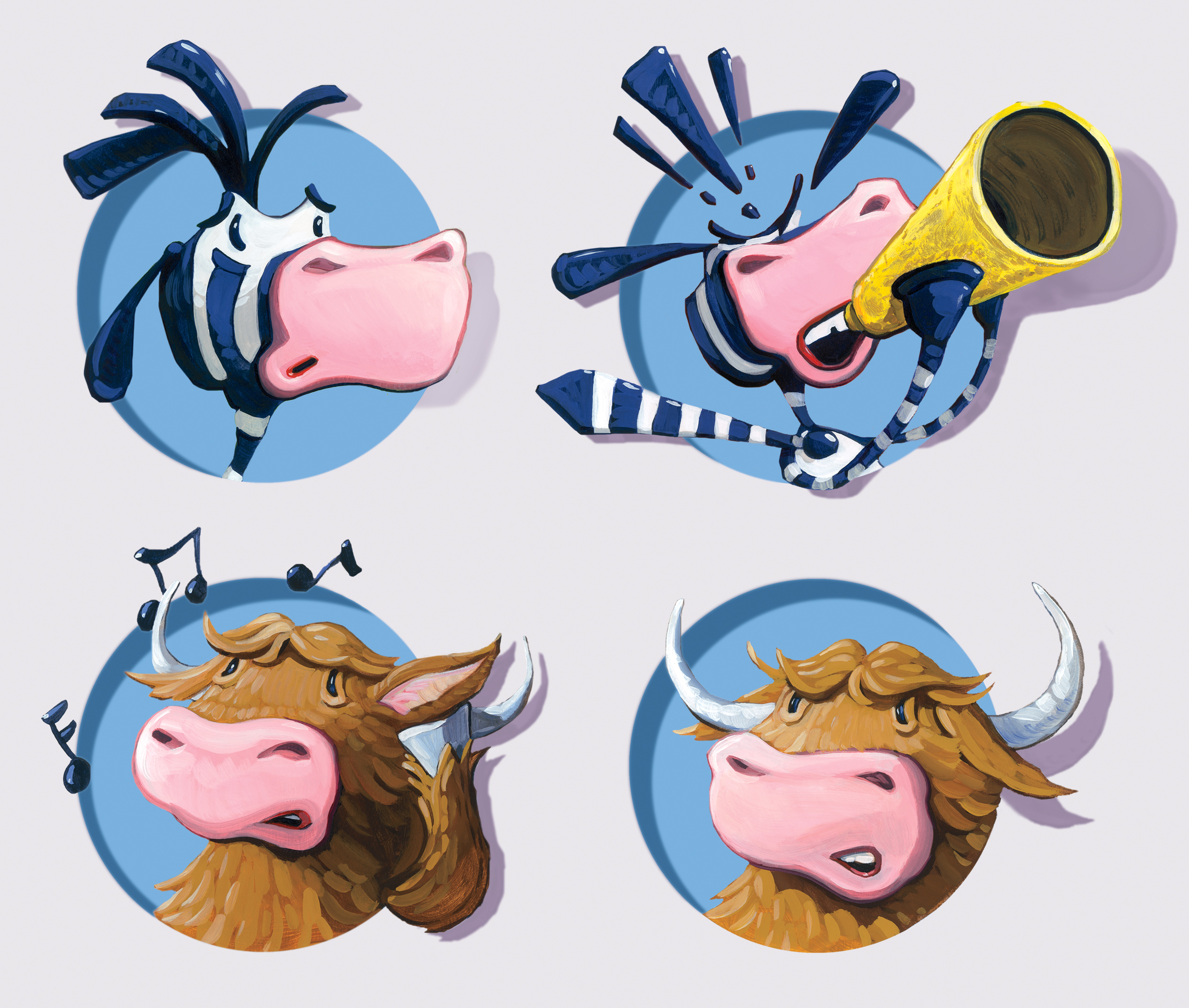 A compilation of heads. I painted each separately and combined them digitally for the book.