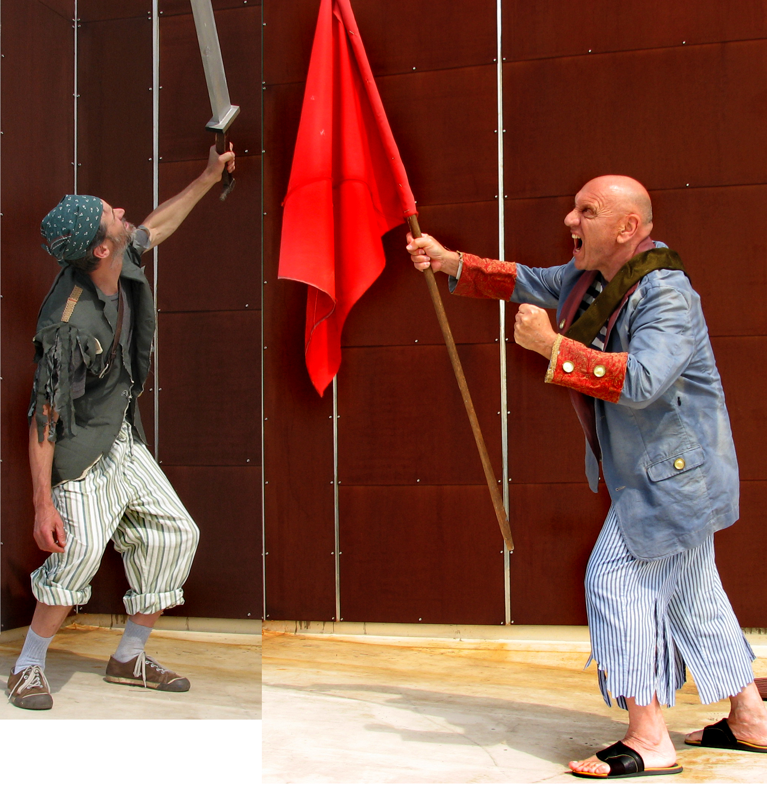 I posed friends as pirates. Compare the guy with the flag to the image from   Get Him!  , above.