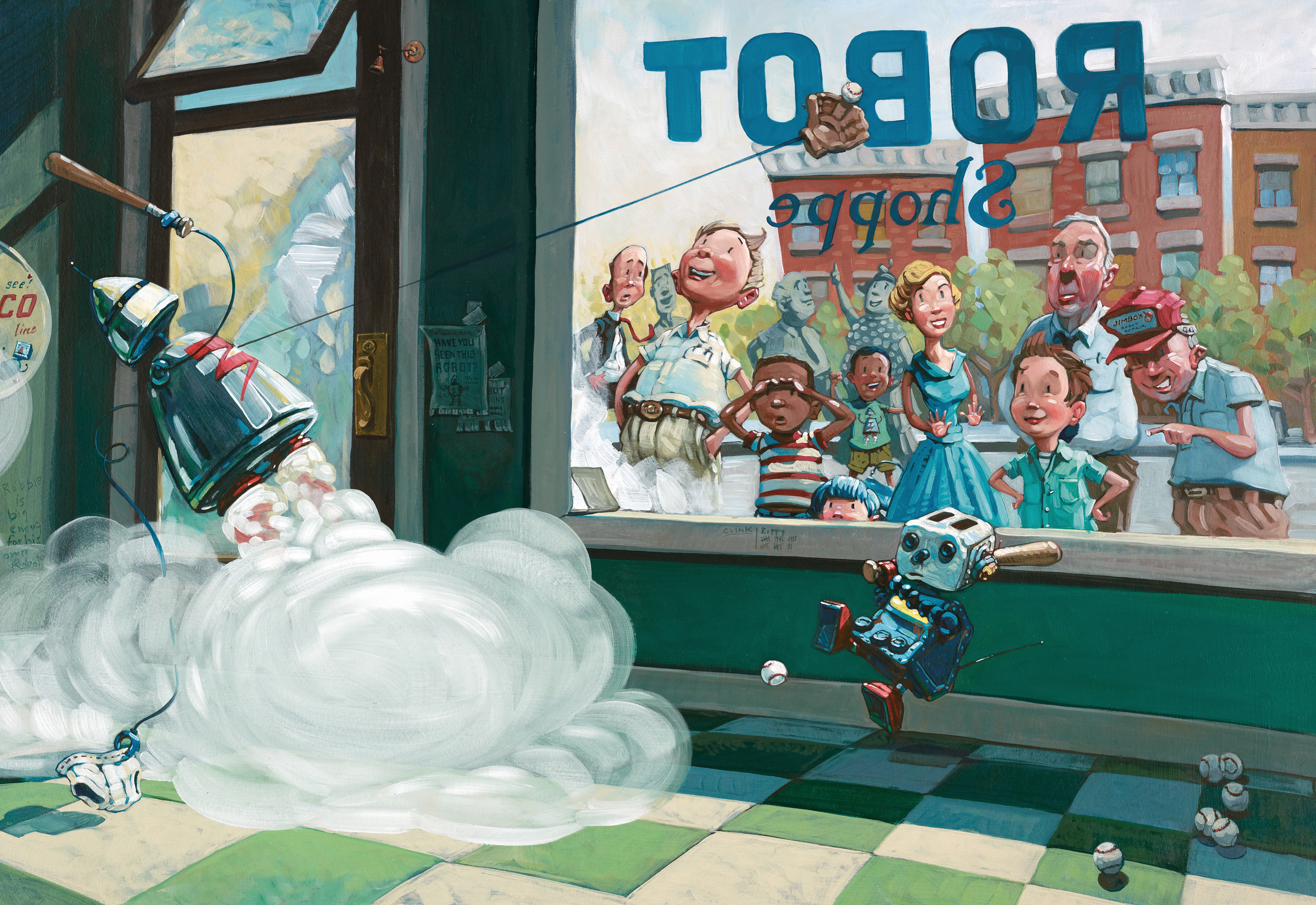 Home Run   • Oil on illustration board. Zippy the robot can play baseball and pick up laundry simultaneously. Poor Clink can't hit a ball to save his life.