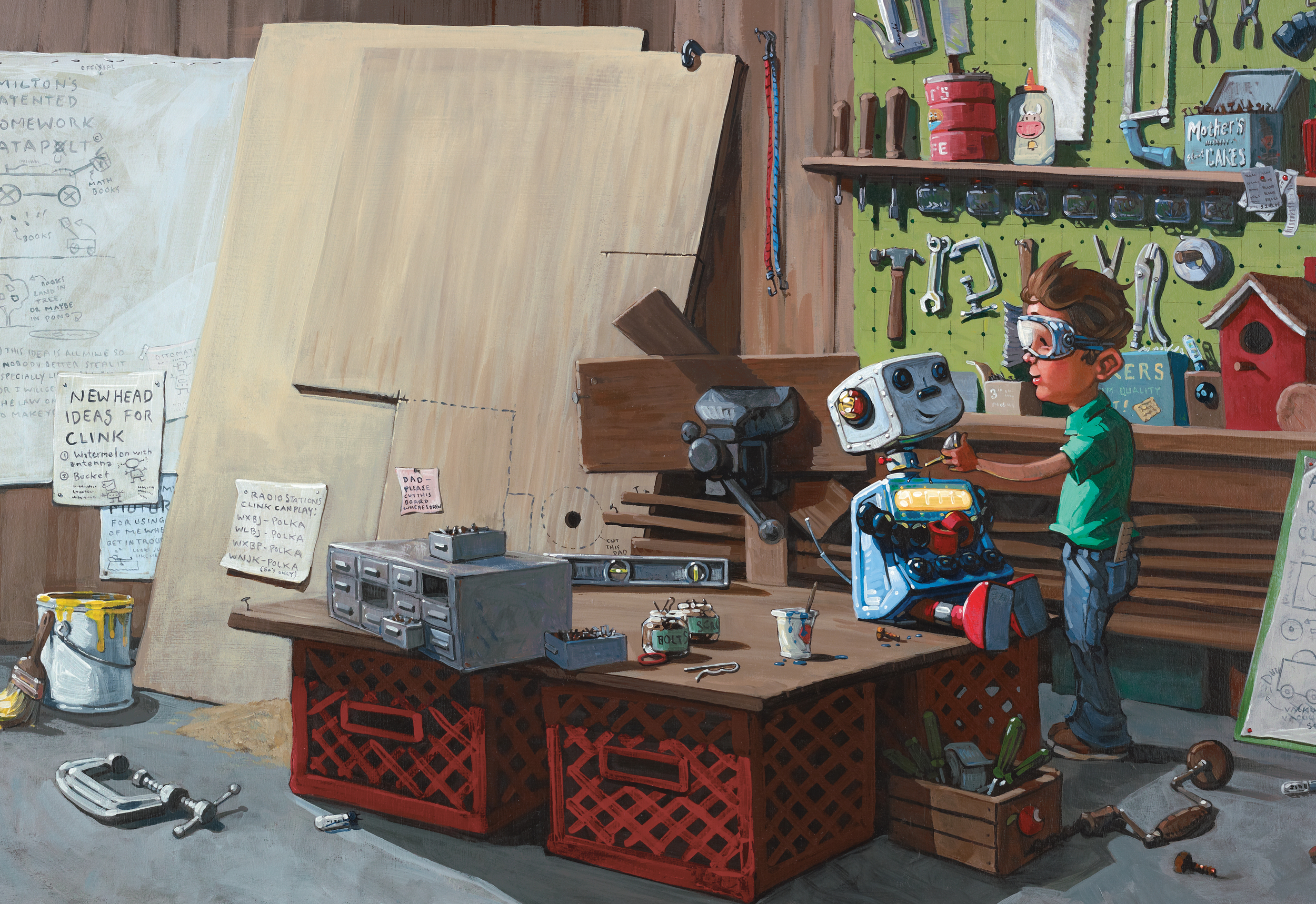 Milton's Workshop   • Oil on illustration board. Check out Milton's plans and notes in the background. BTW, I own most of these tools.