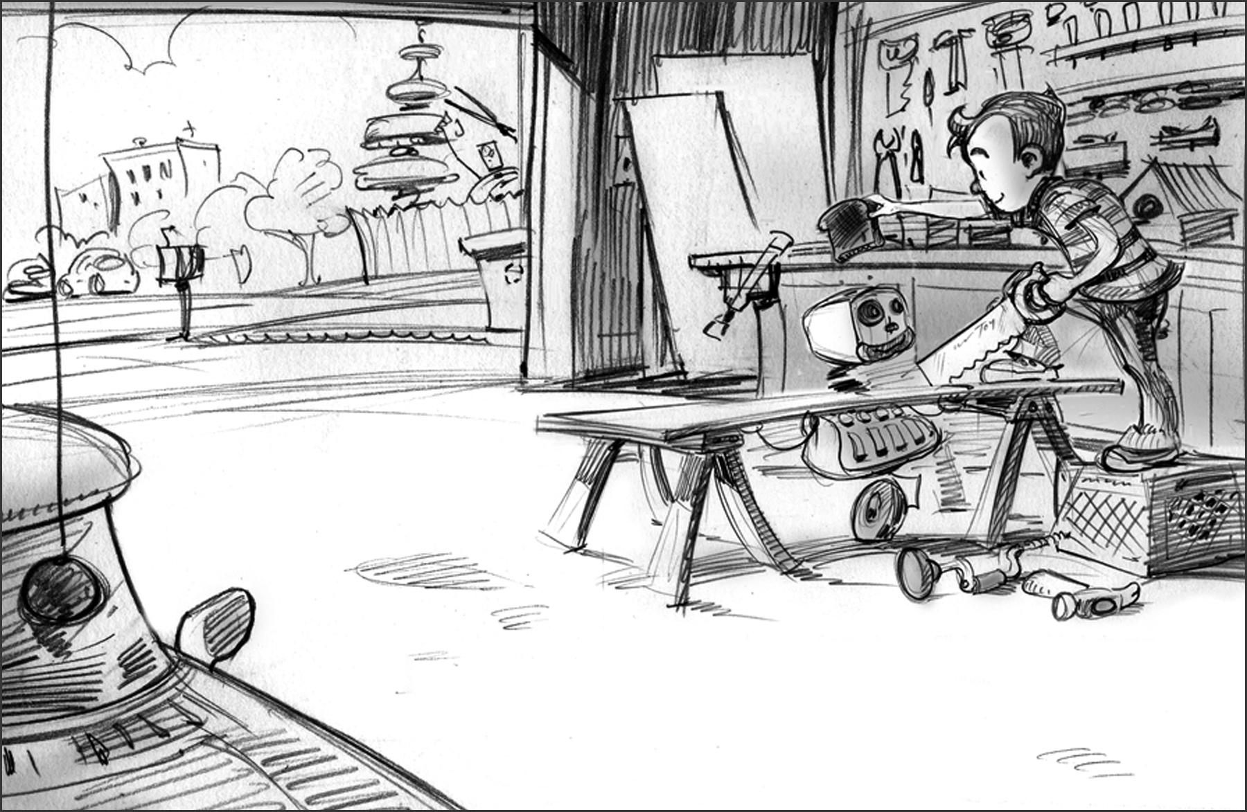 First sketch for   Milton's Workshop.