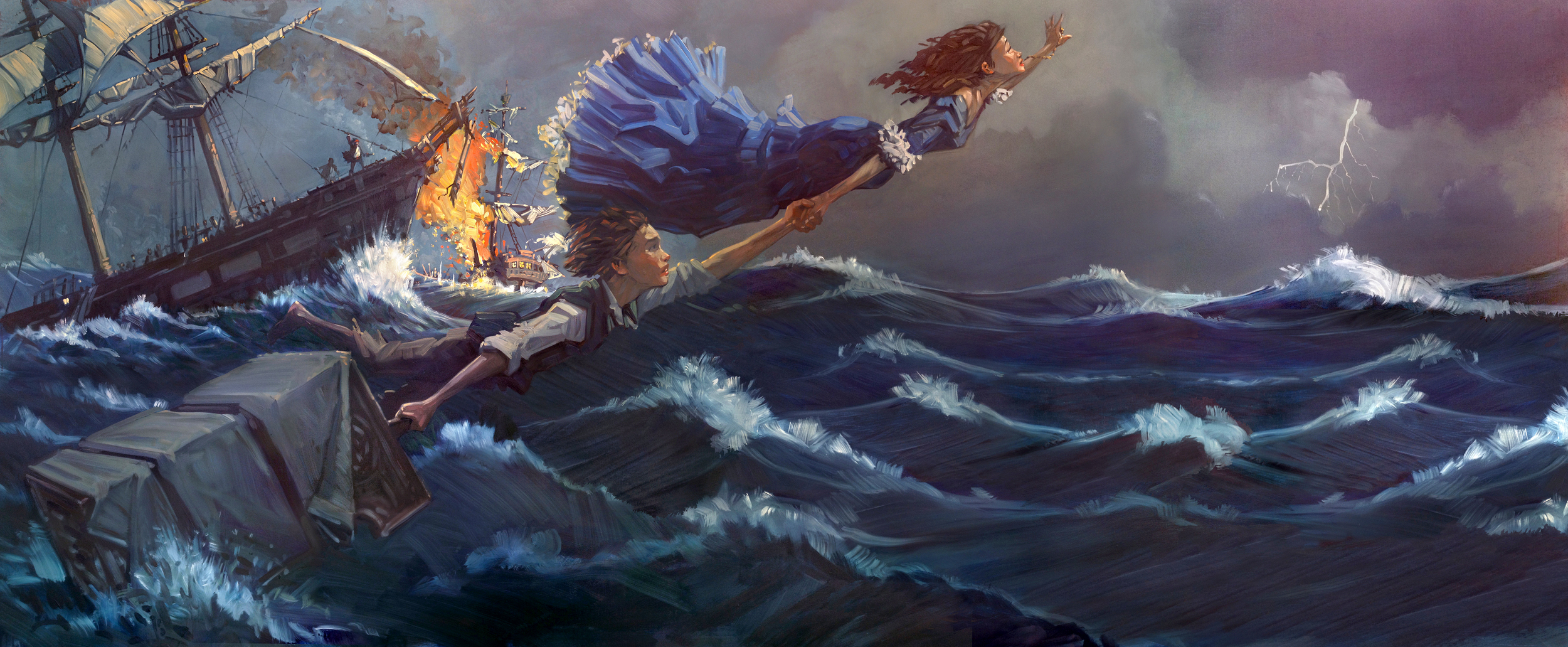 Escape   • Oil on Masonite. Peter gets help, before he learns to fly. Whenever I paint in a realistic way, I use reference photos. The ship was from one source, the flames and waves from other photos. I photographed the models standing up, then altered their poses for the painting.