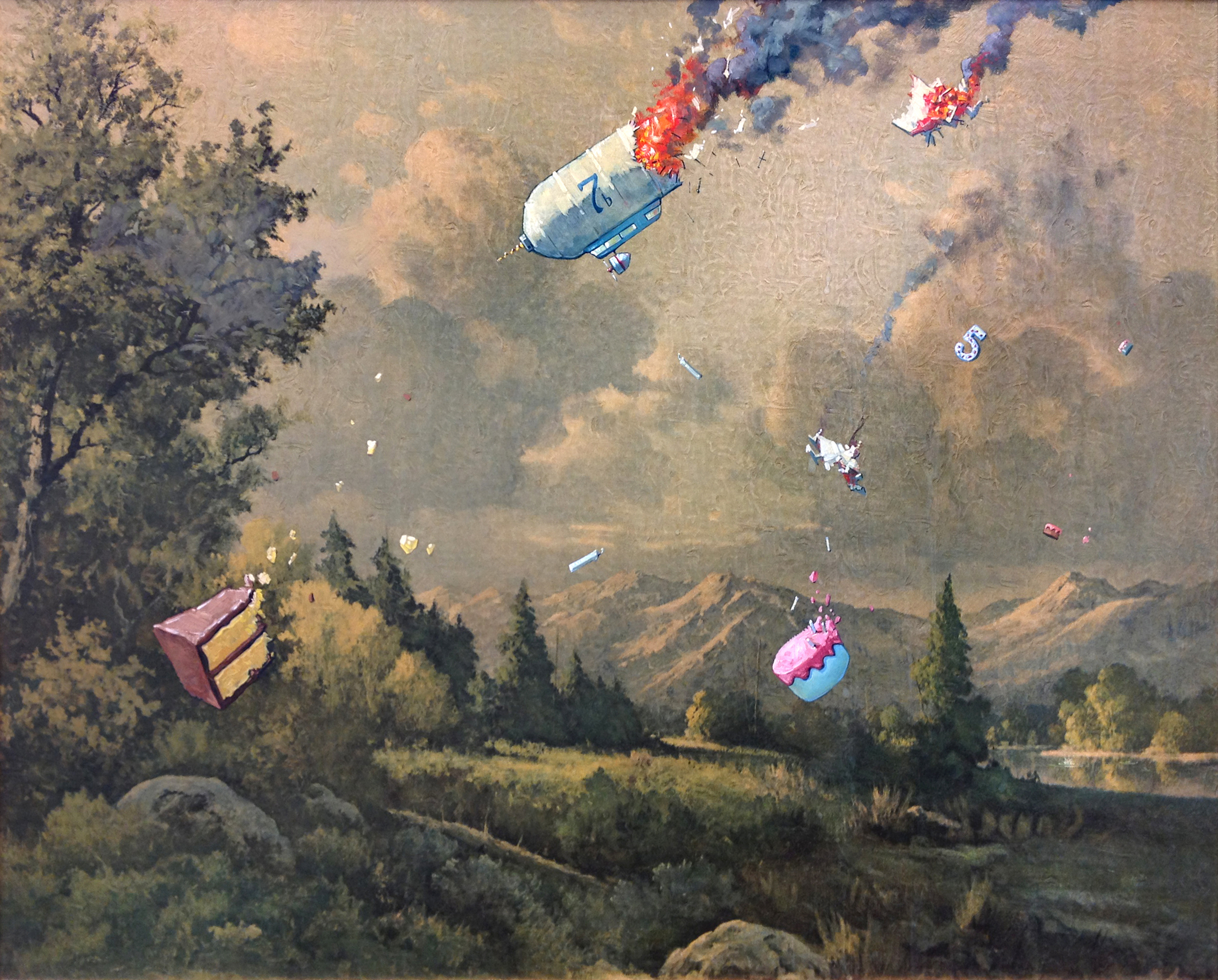 """The Cake Zeppelin Goes Down   •34""""wide, framed.Oil on a cardboard art print, 2015. $400. Buy this painting."""