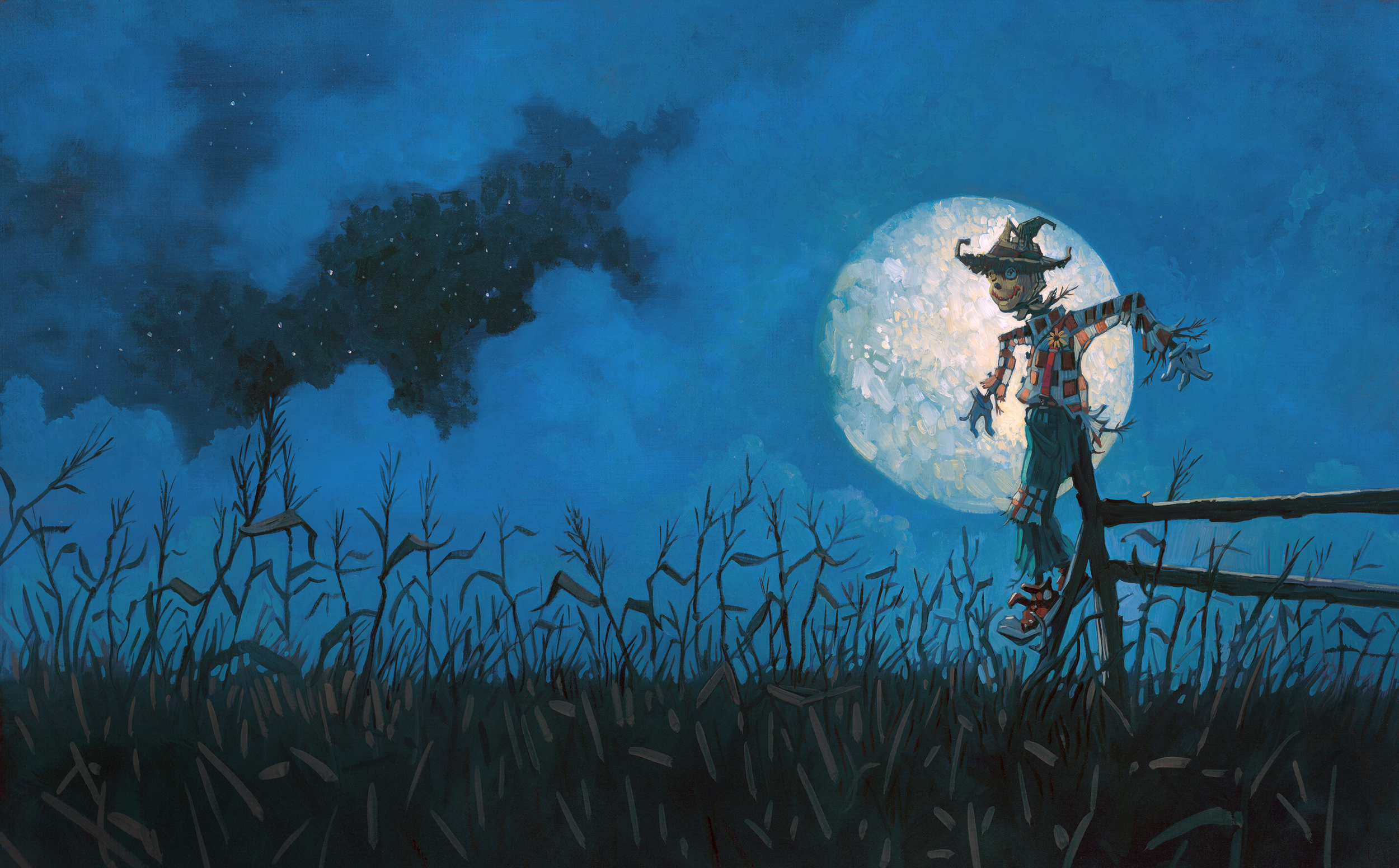 """Ending His Day Shift   • 25"""" wide. Oil on illustration board, 2014.$700. Buy this painting."""