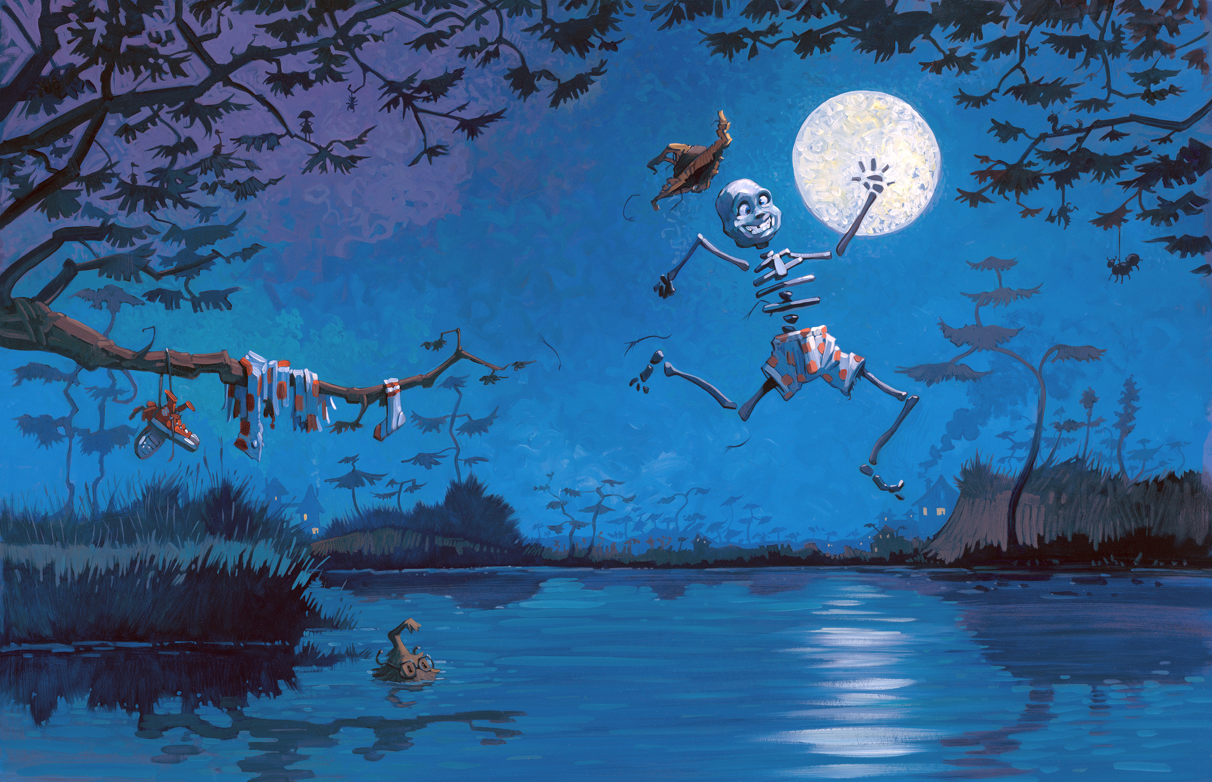 """Time For Fun!   • 25"""" wide. Oil on illustration board, 2014.$700. Buy this painting."""