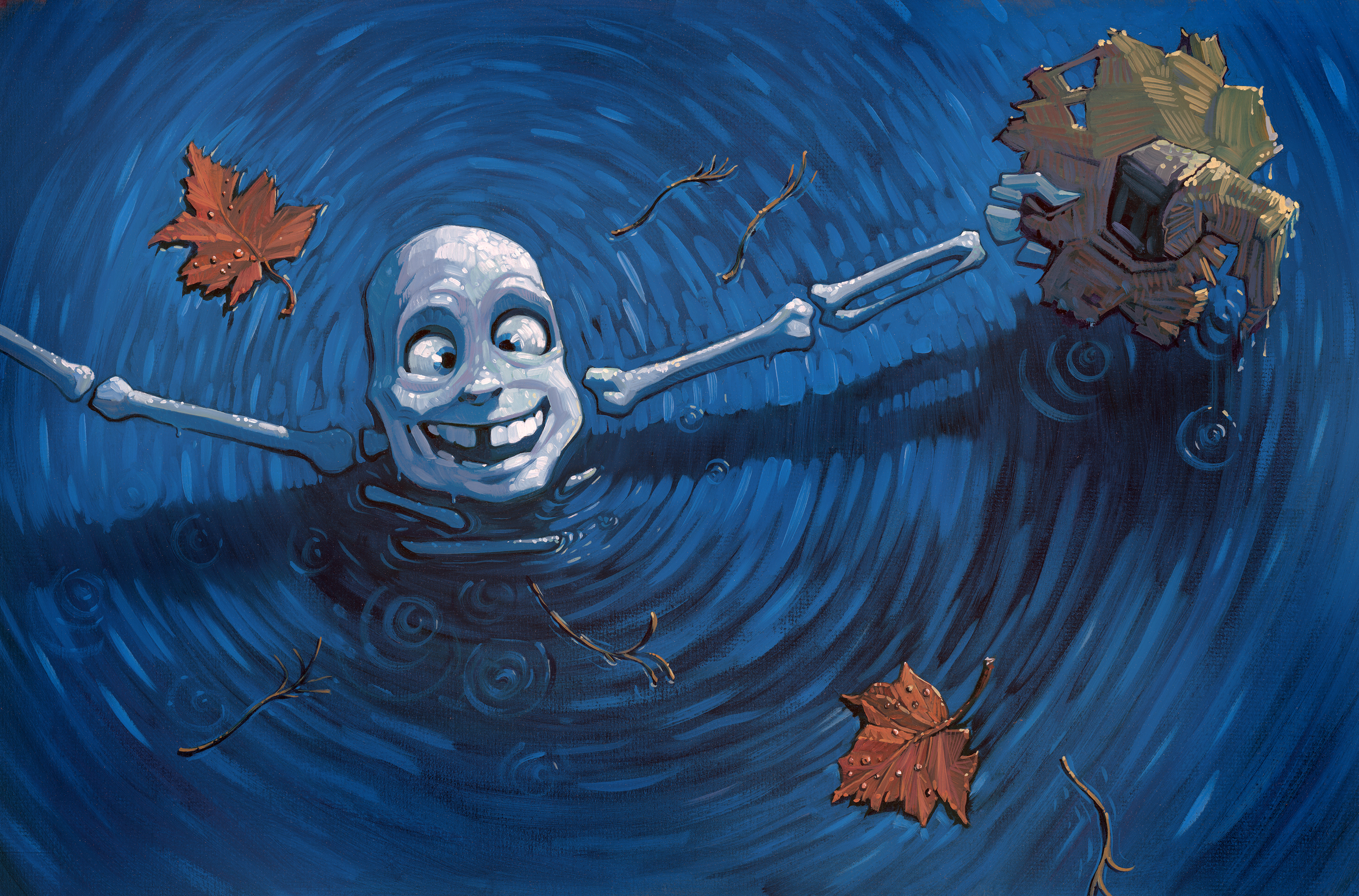 """Skinny Dip   • 25"""" wide. Oil on illustration board, 2014.$500. Buy this painting."""
