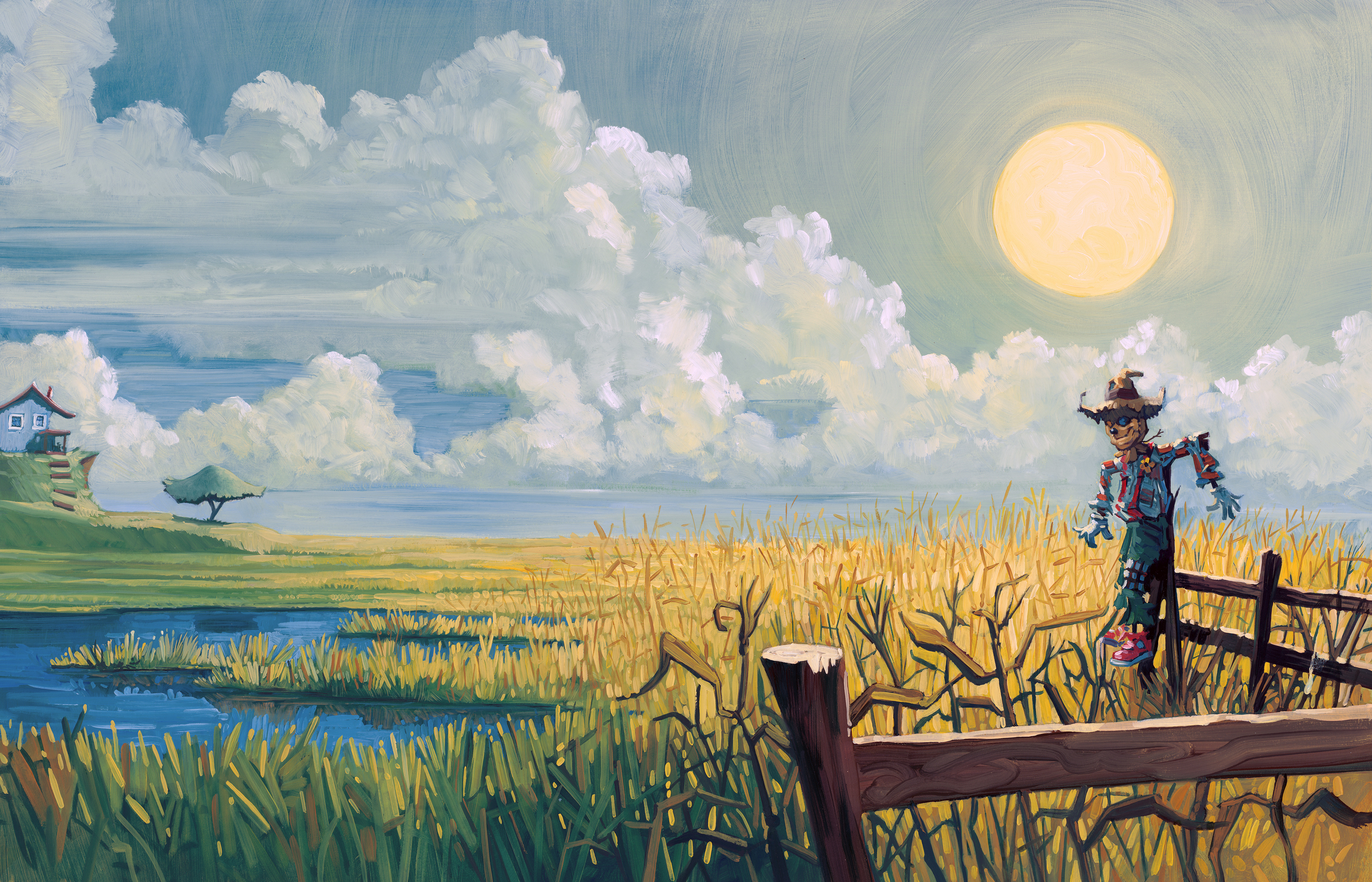 """Back to Work   • 25"""" wide. Oil on illustration board, 2014.$600. Buy this painting."""