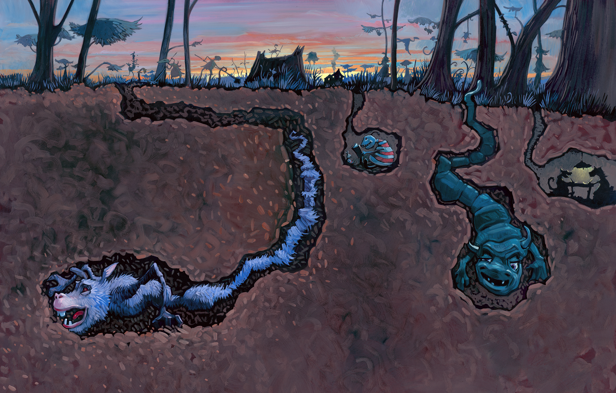 """Back Under   • 25"""" wide. Oil on illustration board, 2014.$500. Buy this painting."""