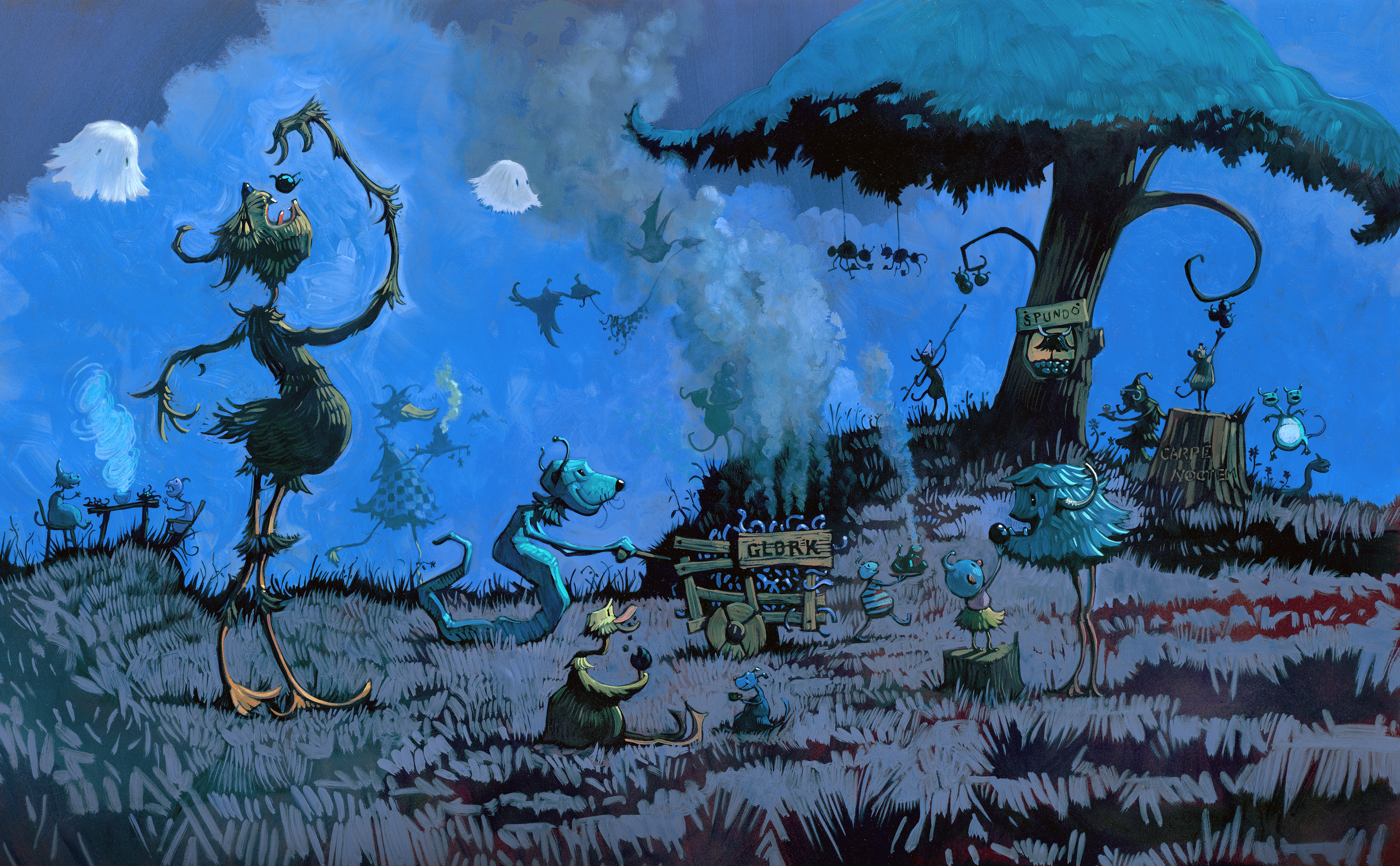 """Beast Feast   • 25"""" wide. Oil on illustration board, 2014.$800. Buy this painting."""
