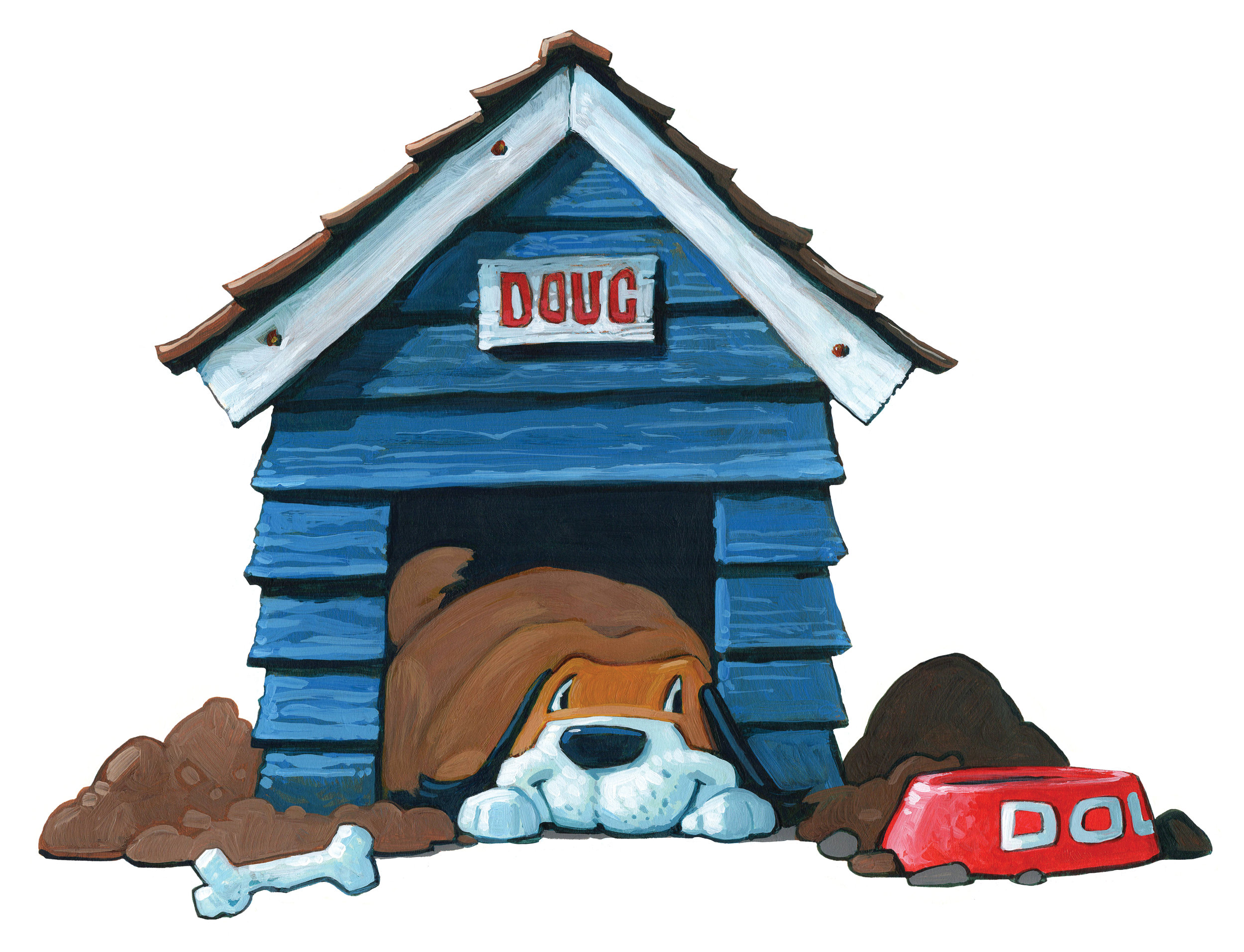 In the Doghouse   • Acrylic and Oil on illustration board